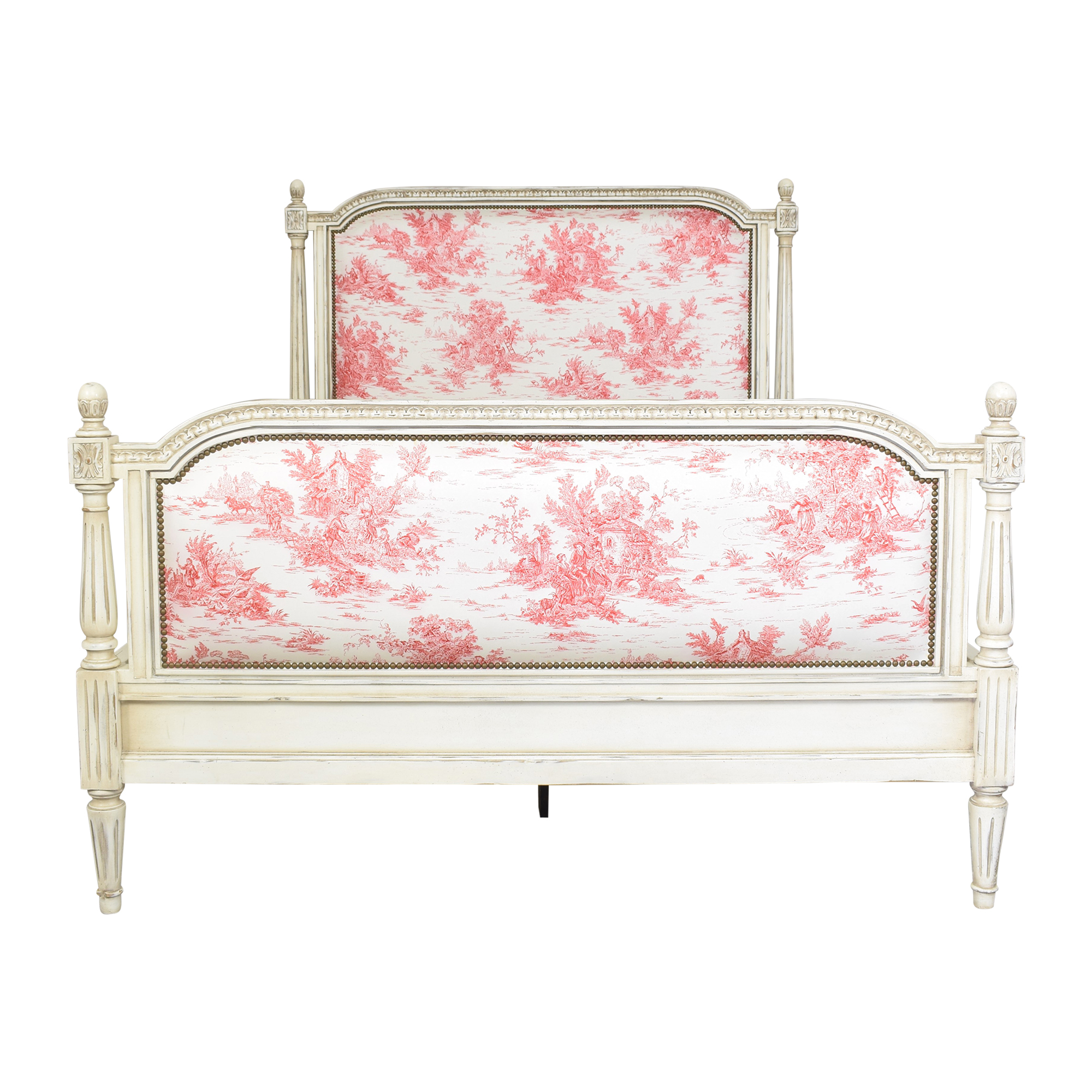 Toile Upholstered Queen Bed sale