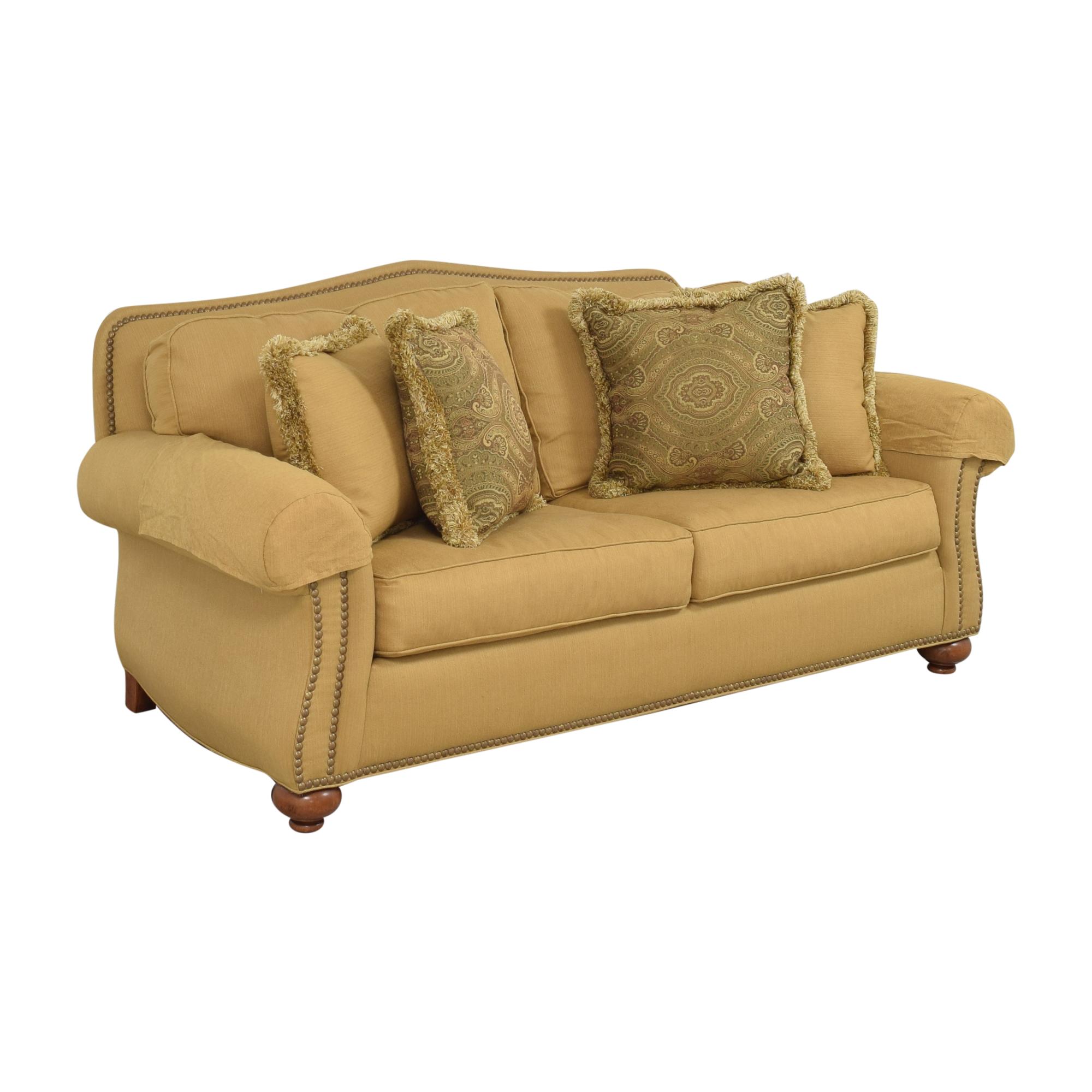 Ethan Allen Ethan Allen Nailhead Two Cushion Sofa dimensions
