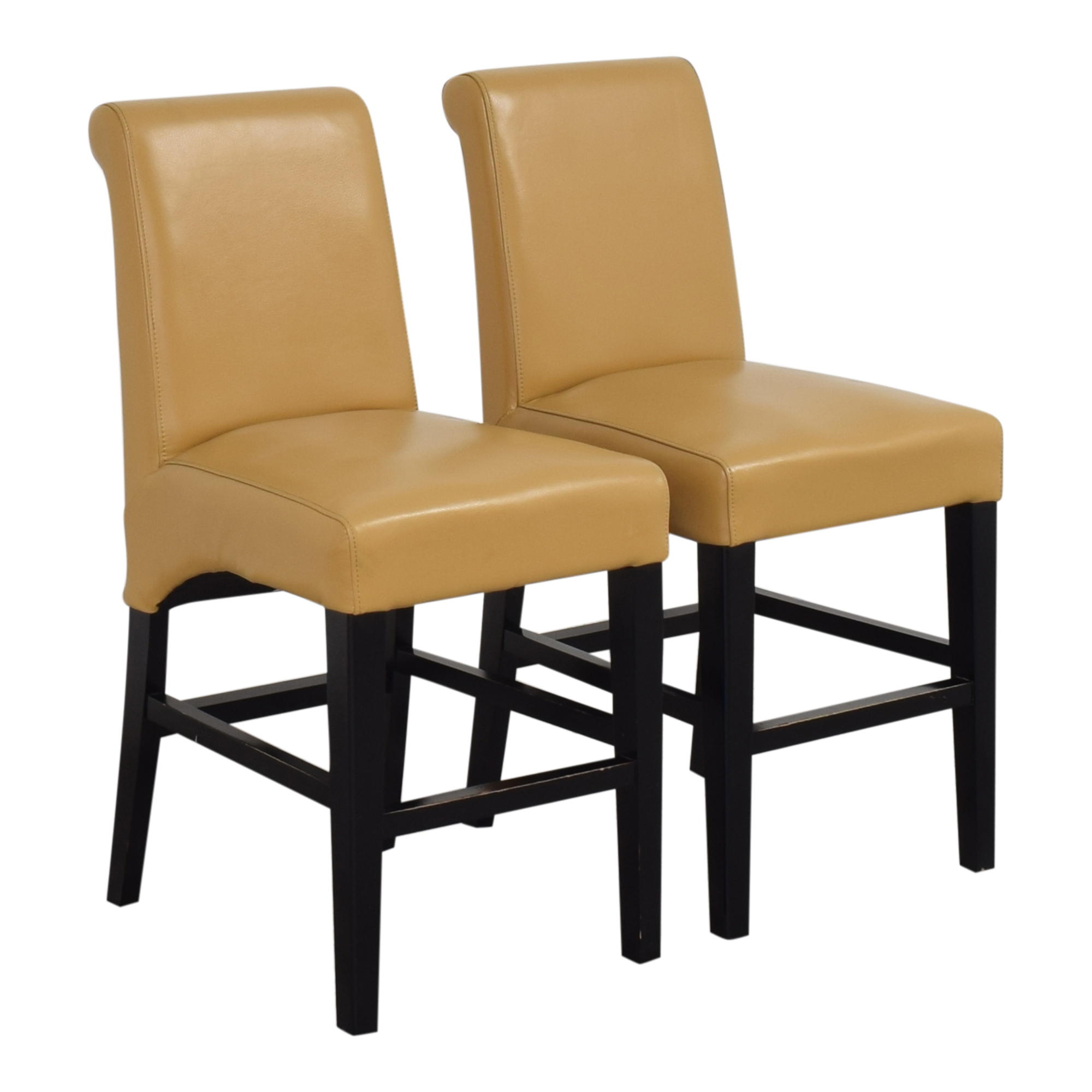 Upholstered Scroll Back Counter Stools tan and black
