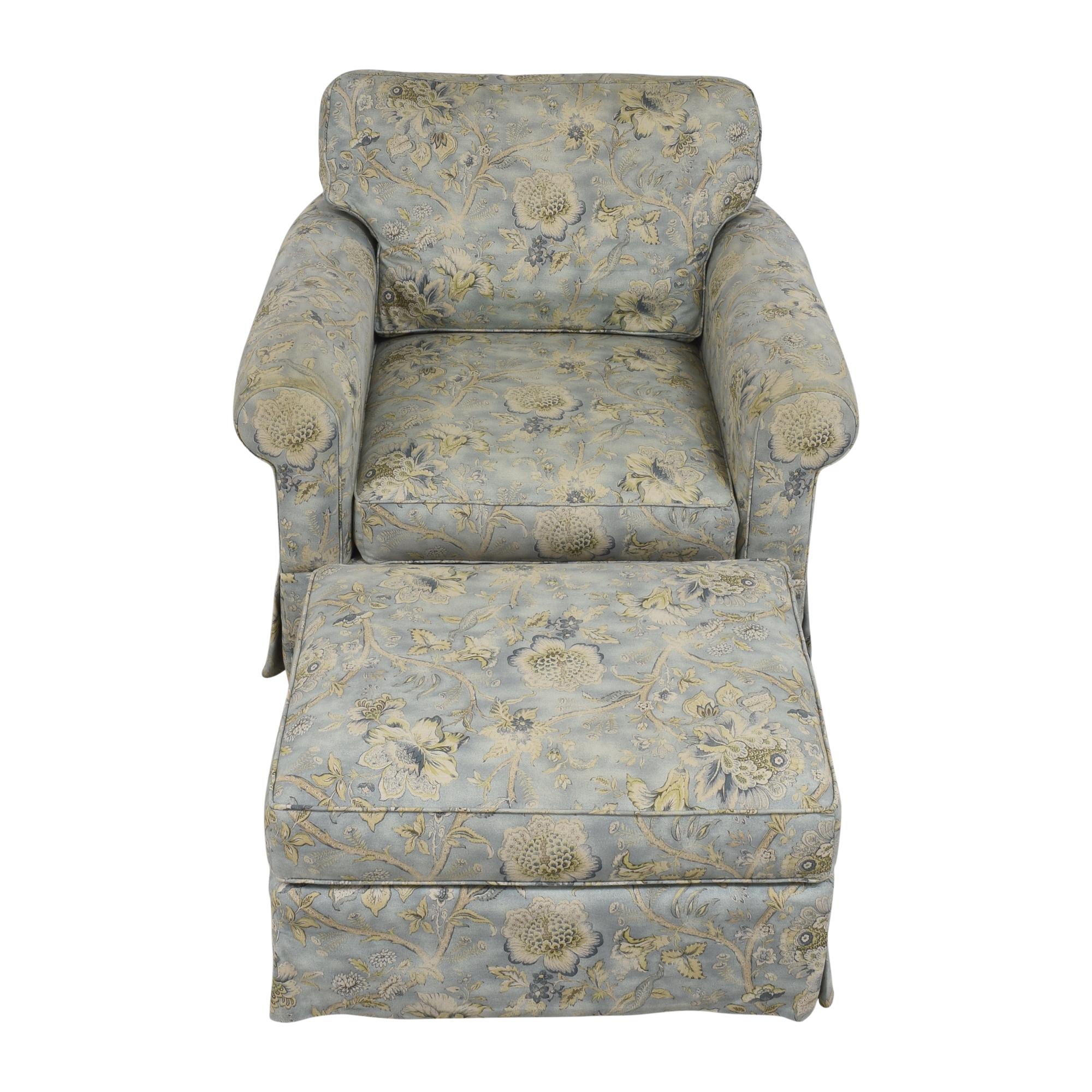 Arhaus Arhaus Baldwin Upholstered Swivel Chair with Ottoman for sale