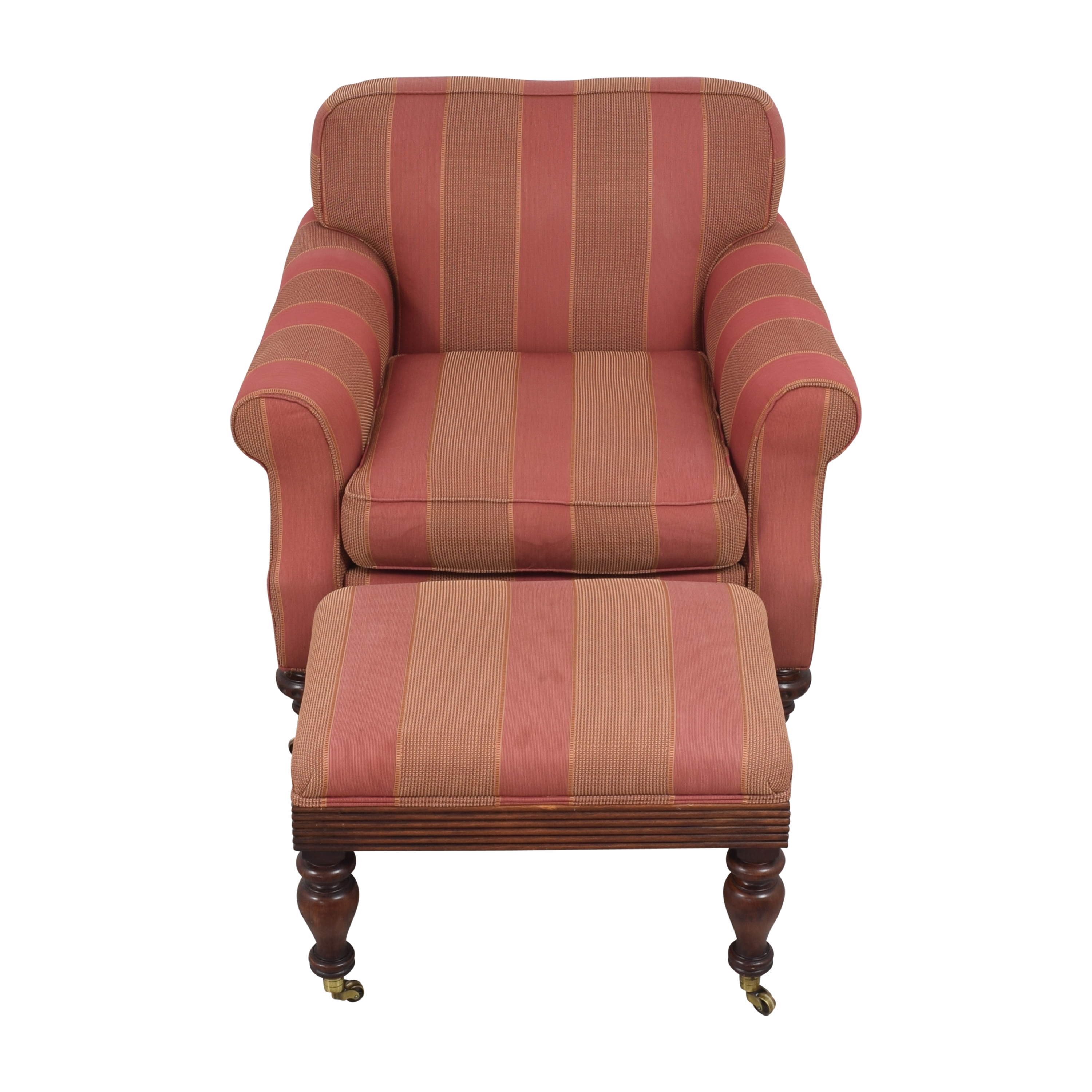 Grange Striped Chair with Ottoman / Accent Chairs