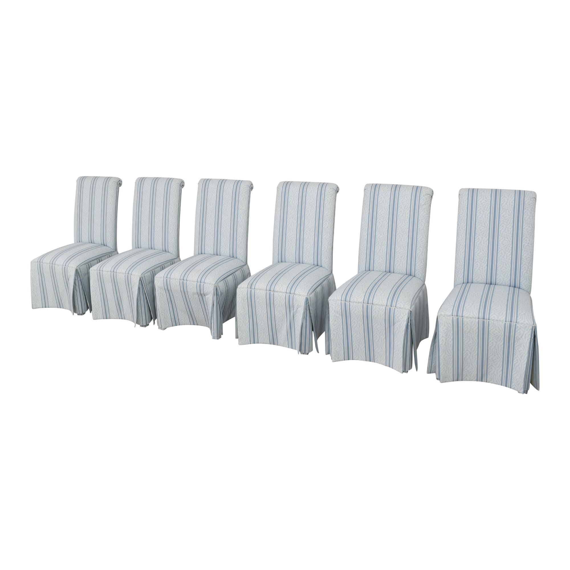 Regency Regency House Scroll Back Skirted Dining Chairs blue