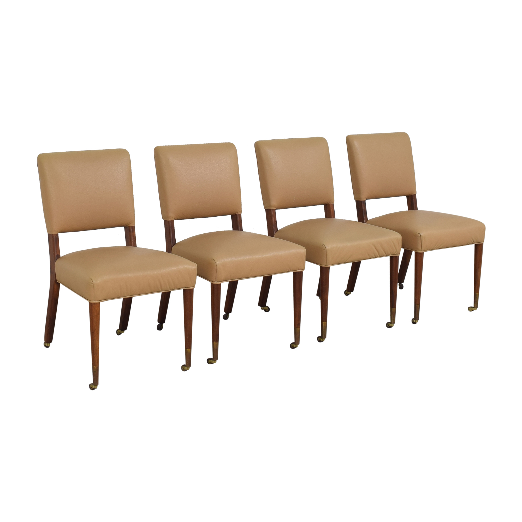 Upholstered Dining Chairs on Casters for sale