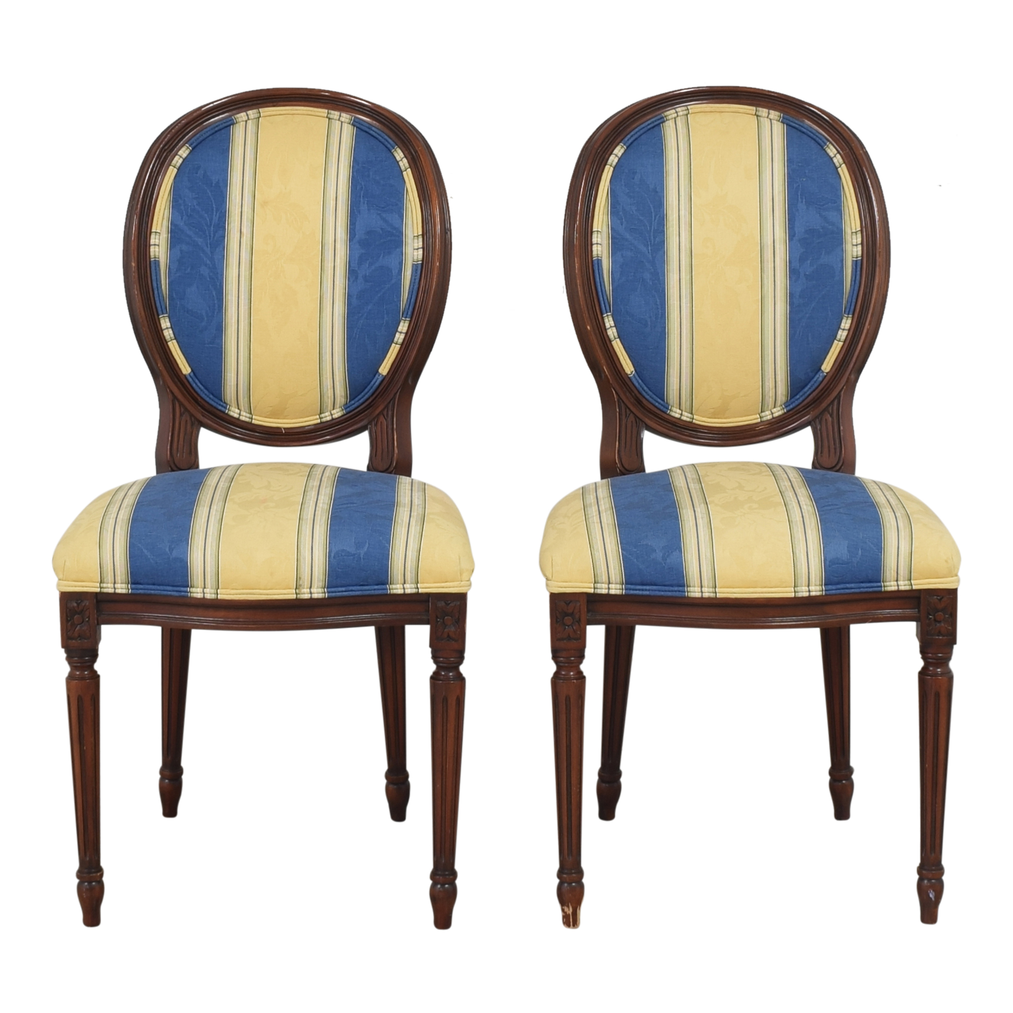 Calico Corners Striped Round Back Dining Side Chairs / Chairs