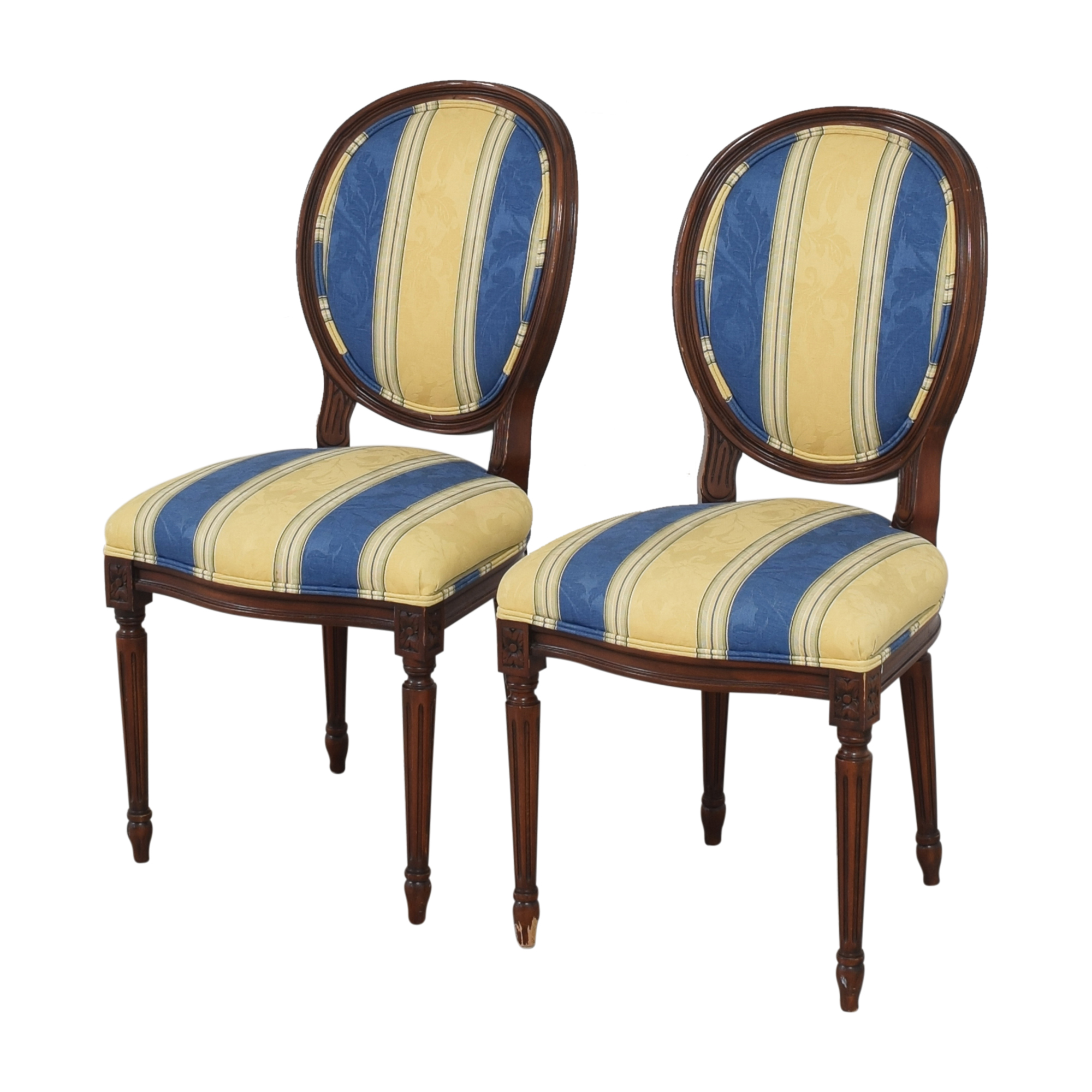 Calico Calico Corners Striped Round Back Dining Side Chairs for sale