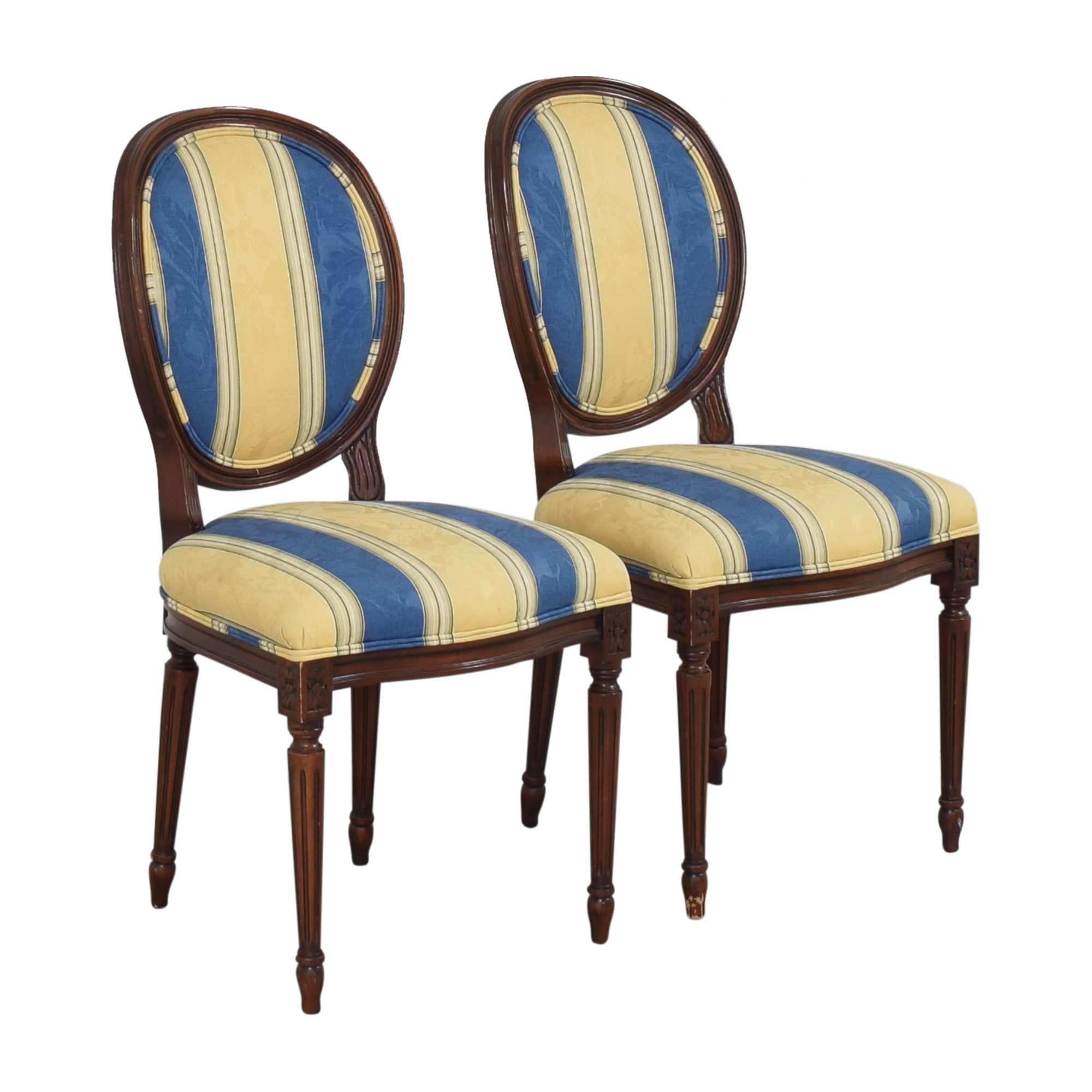 Calico Calico Corners Striped Round Back Dining Side Chairs ma