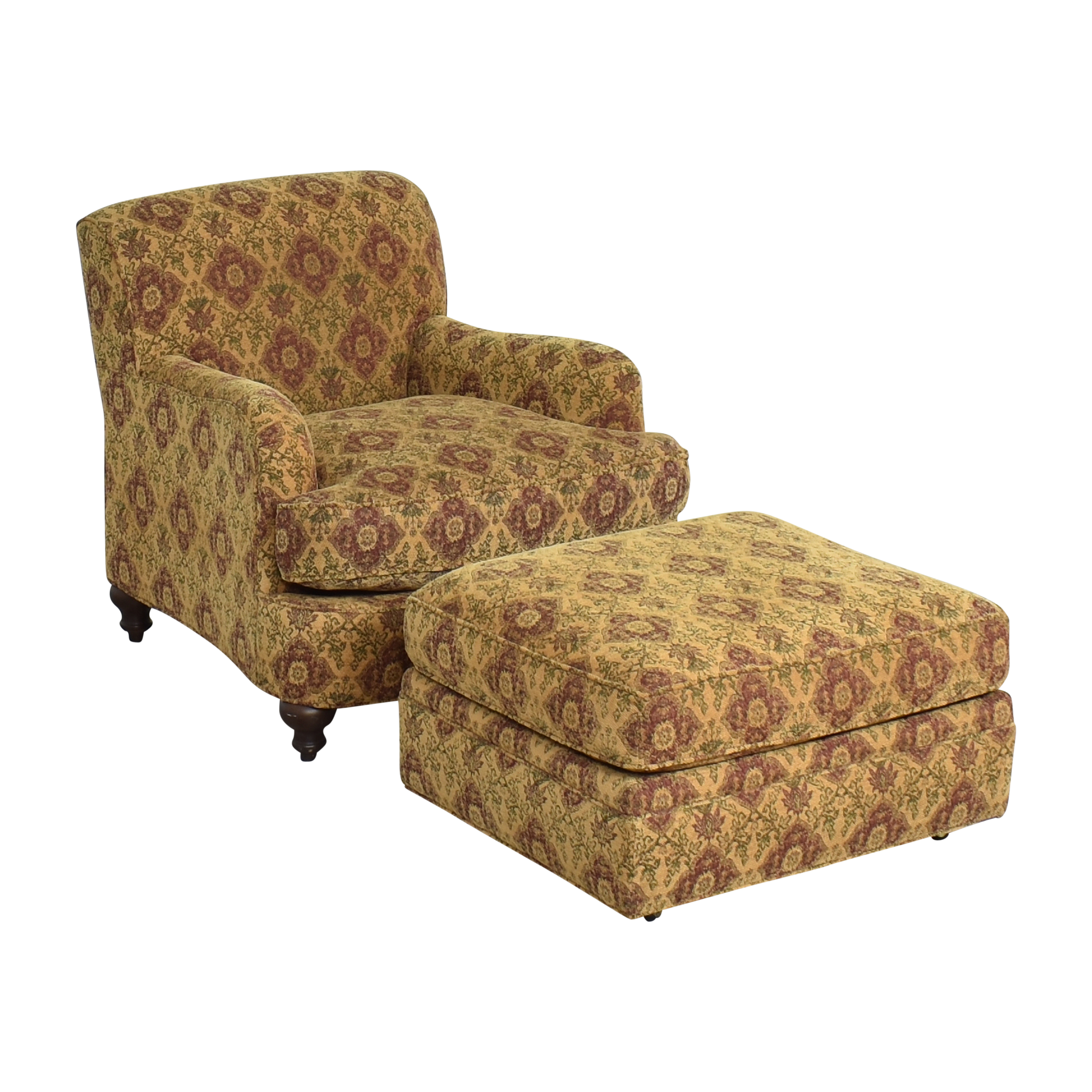 Crate & Barrel Crate & Barrel Upholstered Arm Chair with Ottoman on sale
