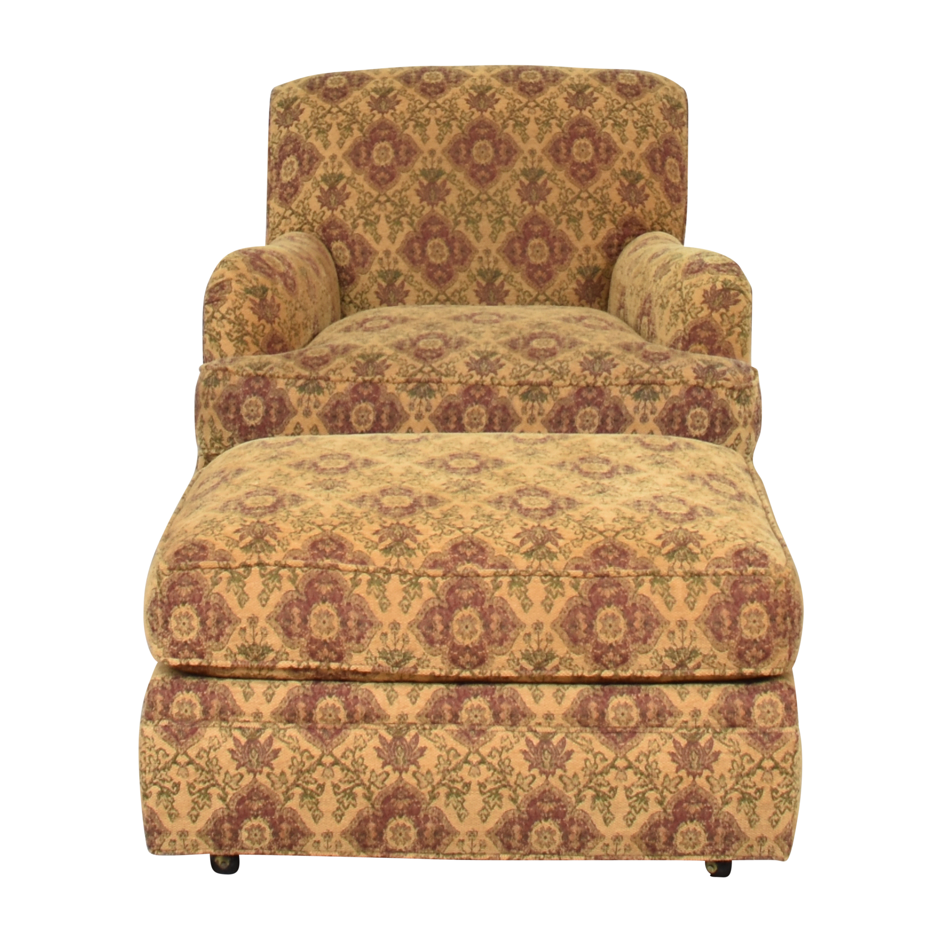 Crate & Barrel Crate & Barrel Upholstered Arm Chair with Ottoman Chairs