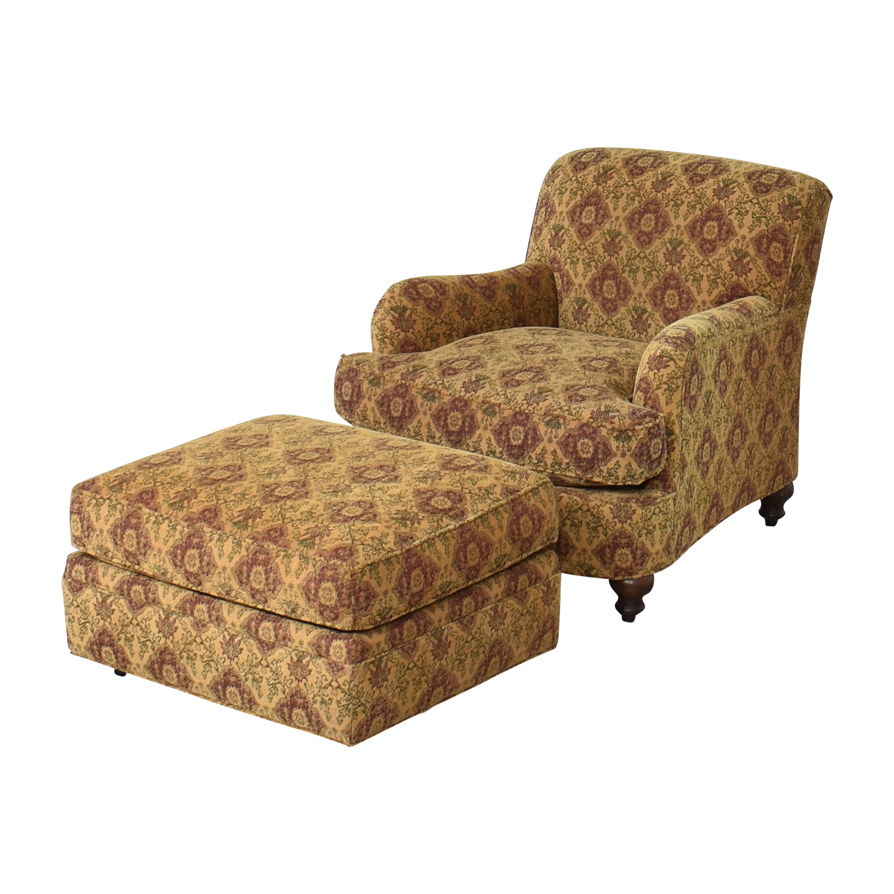 Crate & Barrel Crate & Barrel Upholstered Arm Chair with Ottoman Multi