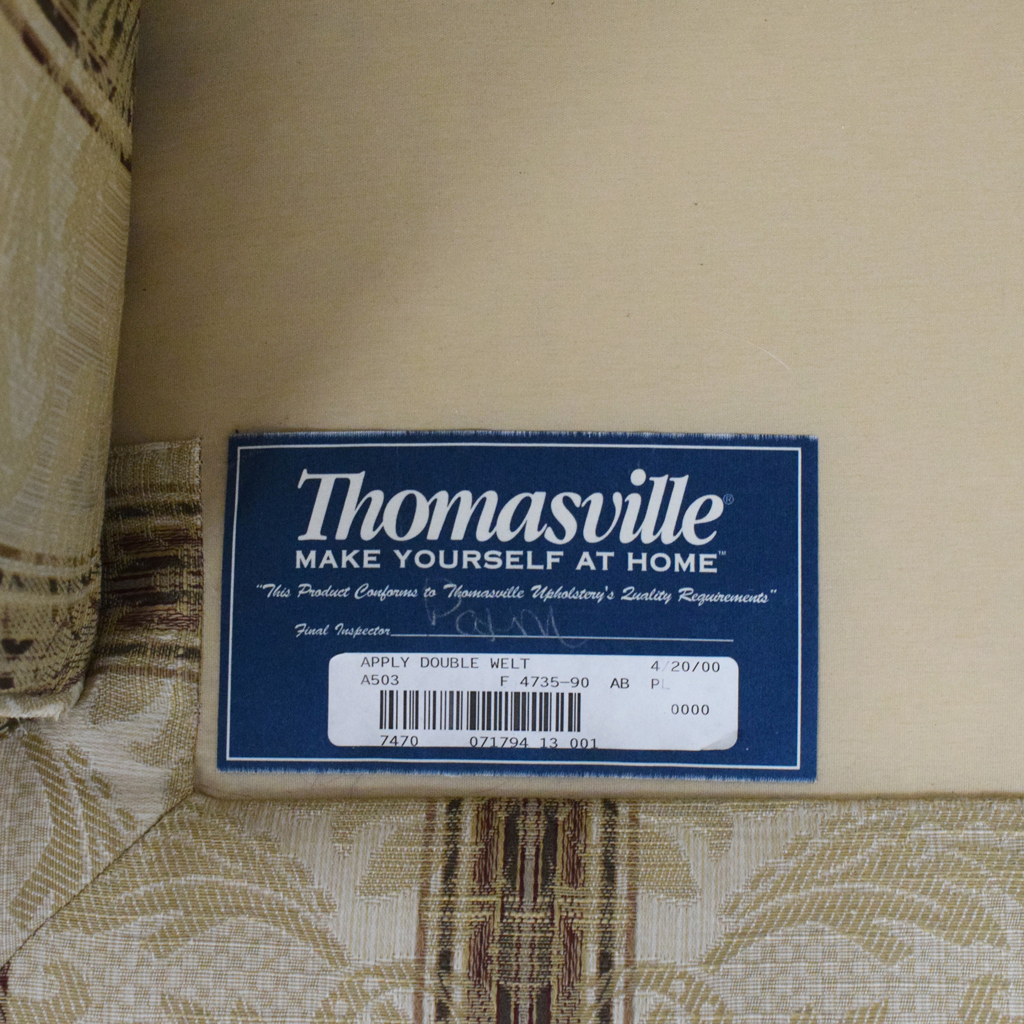 Thomasville Thomasville Damask Striped Wingback Chair discount