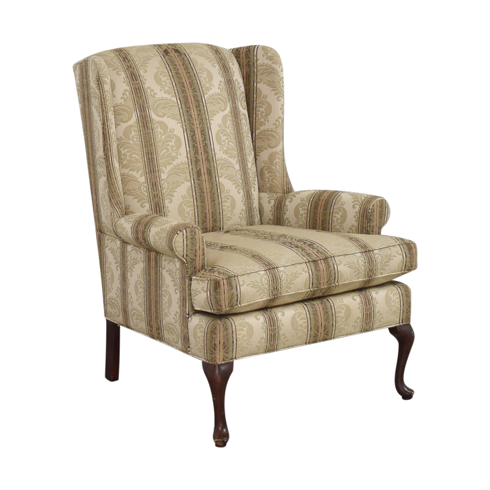 Thomasville Damask Striped Wingback Chair / Chairs