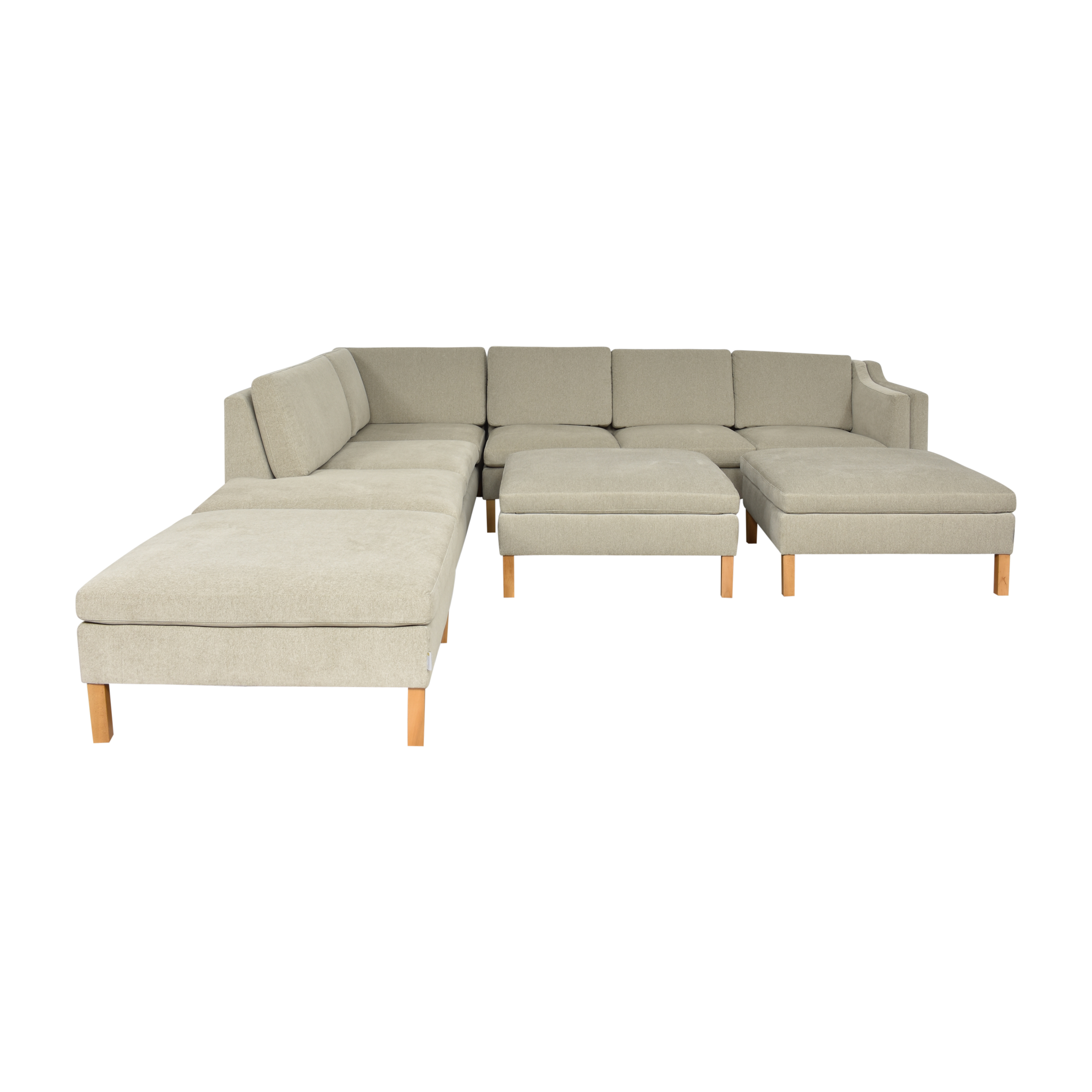 BenchMade Modern BenchMade Modern Up-Town Sectional with Bumper and Ottomans Grey