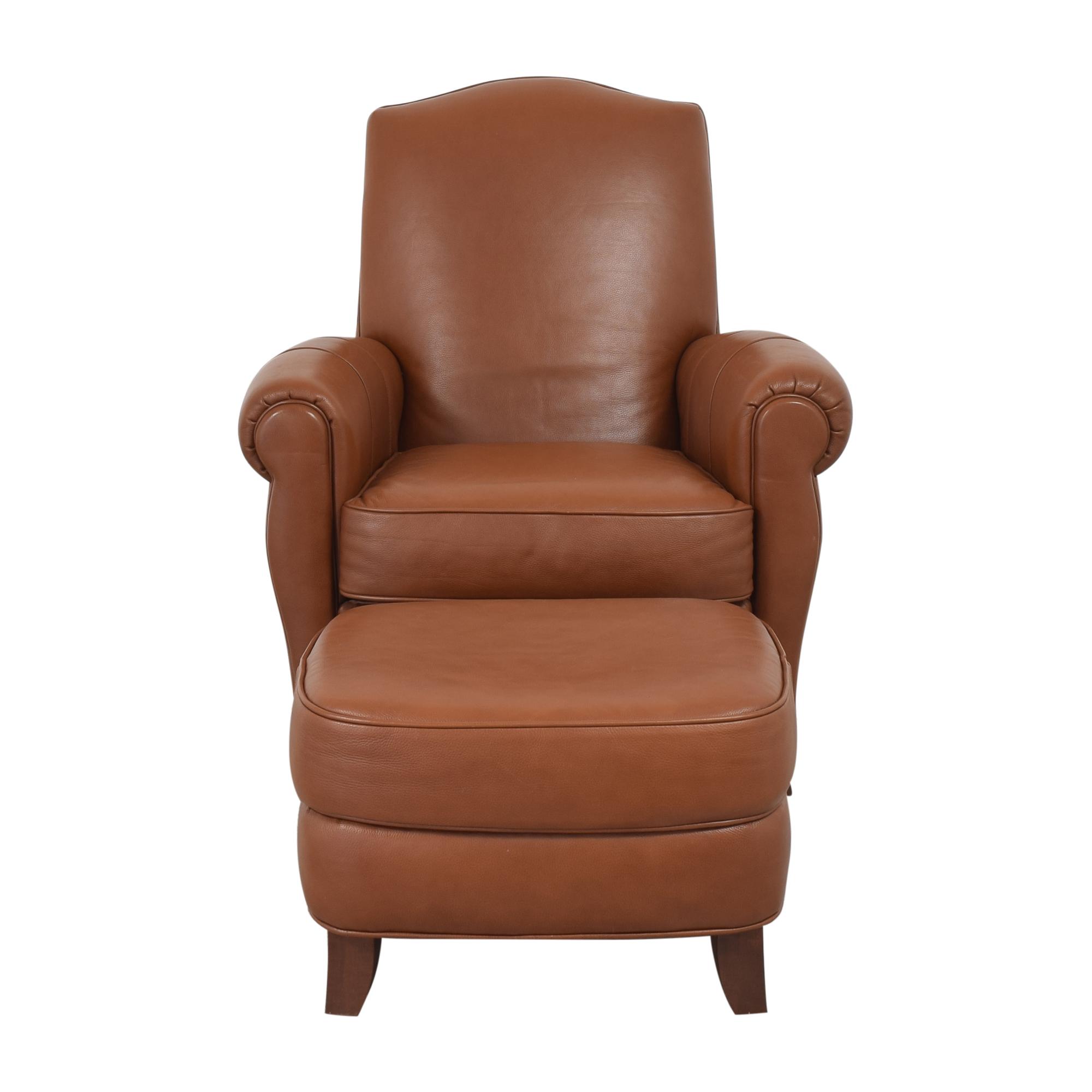 Ethan Allen Ethan Allen Roll Arm Chair with Ottoman brown