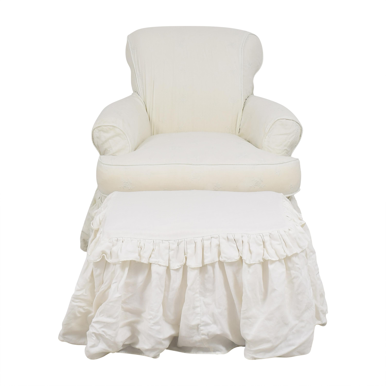 Bassett Furniture Bassett Skirted Chair with Ottoman pa