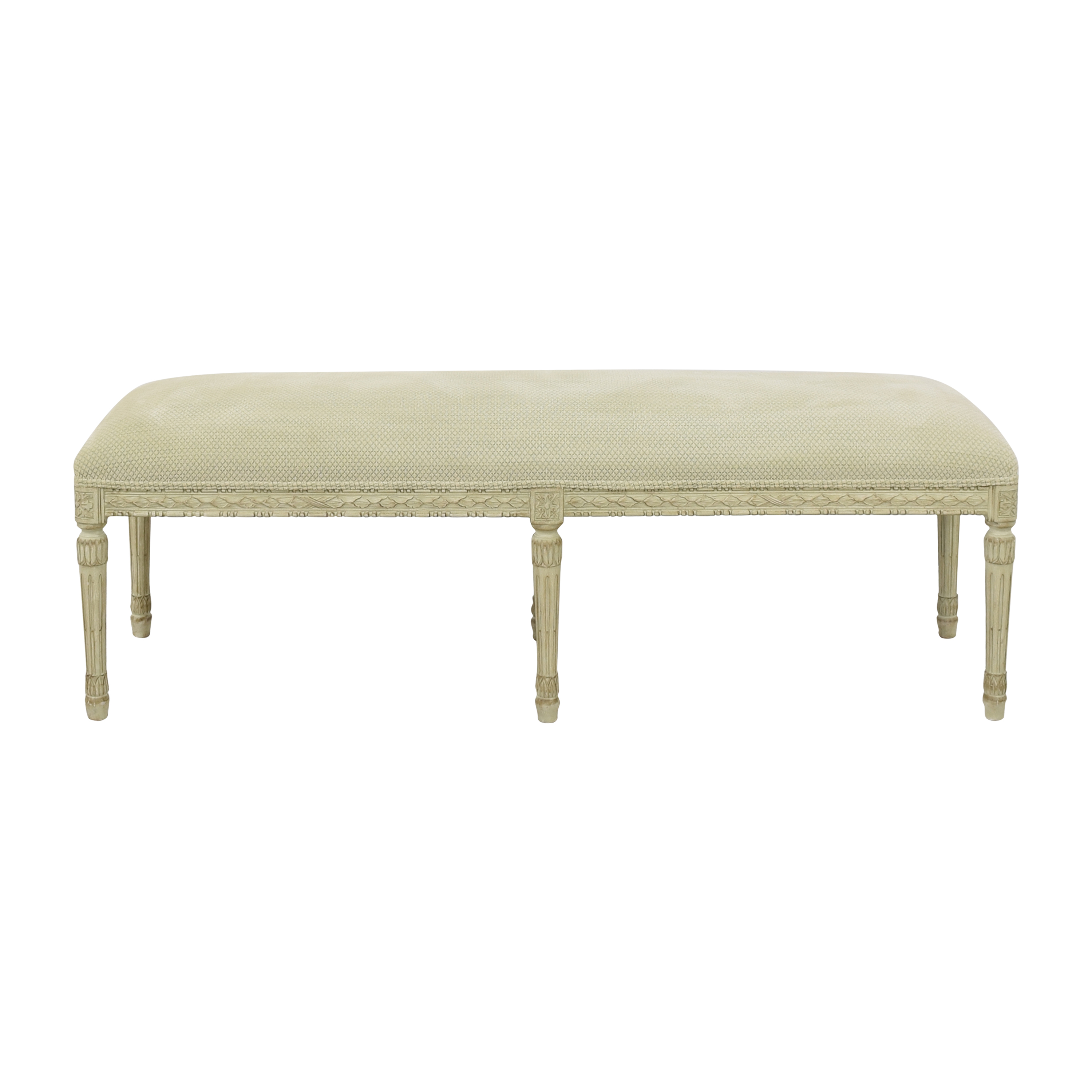 Vintage-Style Upholstered Bench dimensions