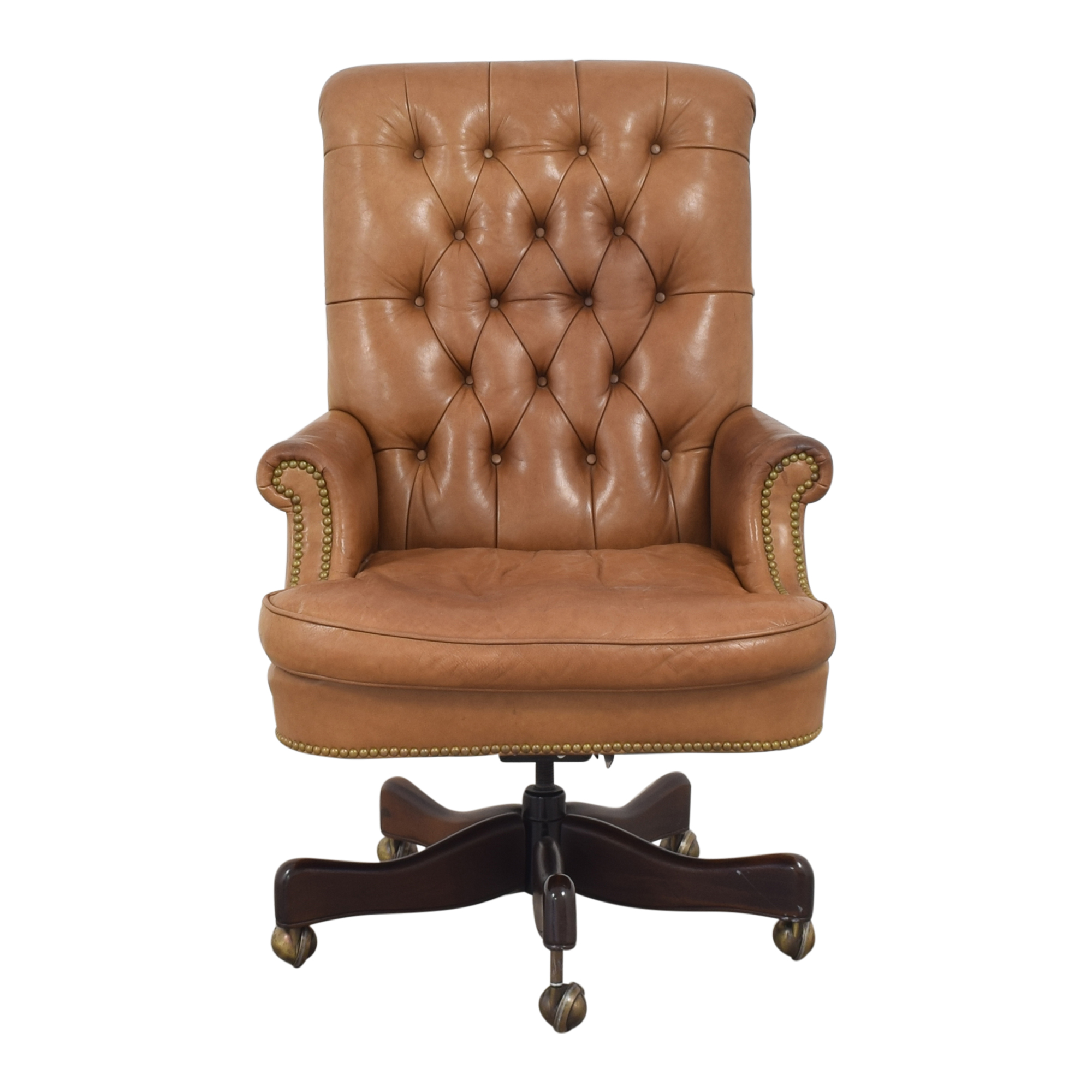 Hickory Chair Hickory Chair Tufted Swivel Desk Chair brown