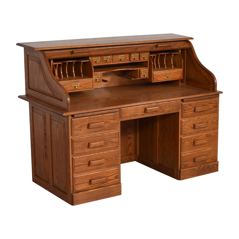 Custom Roll Top Double Pedestal Desk