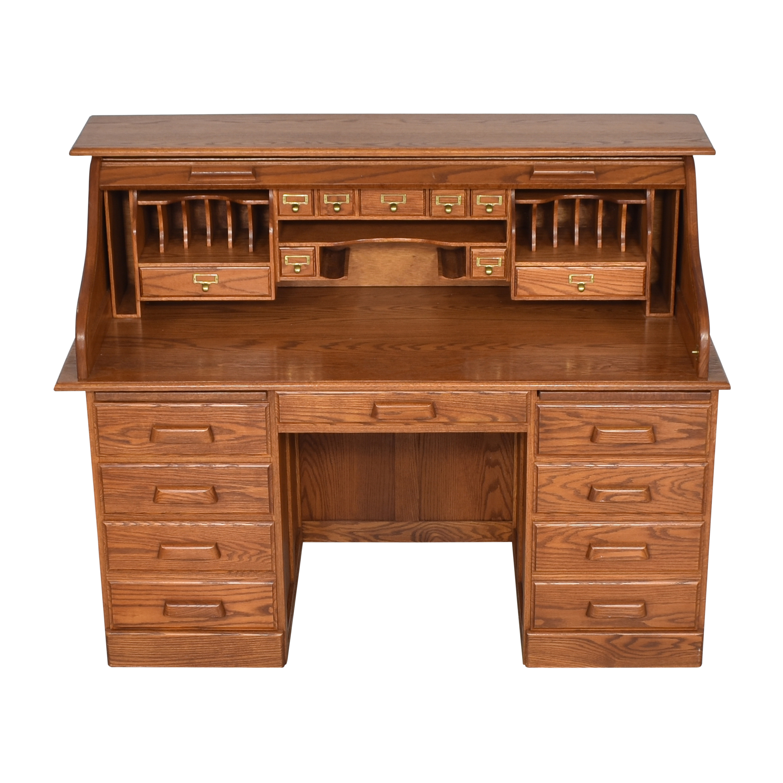 Custom Roll Top Double Pedestal Desk for sale