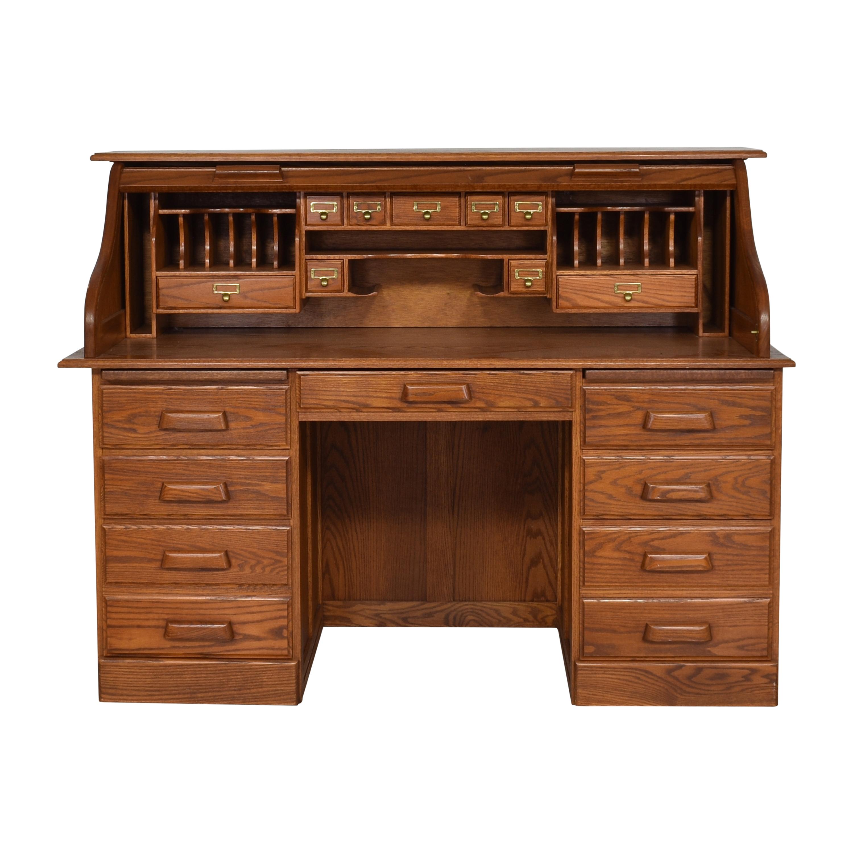 shop Custom Roll Top Double Pedestal Desk  Home Office Desks
