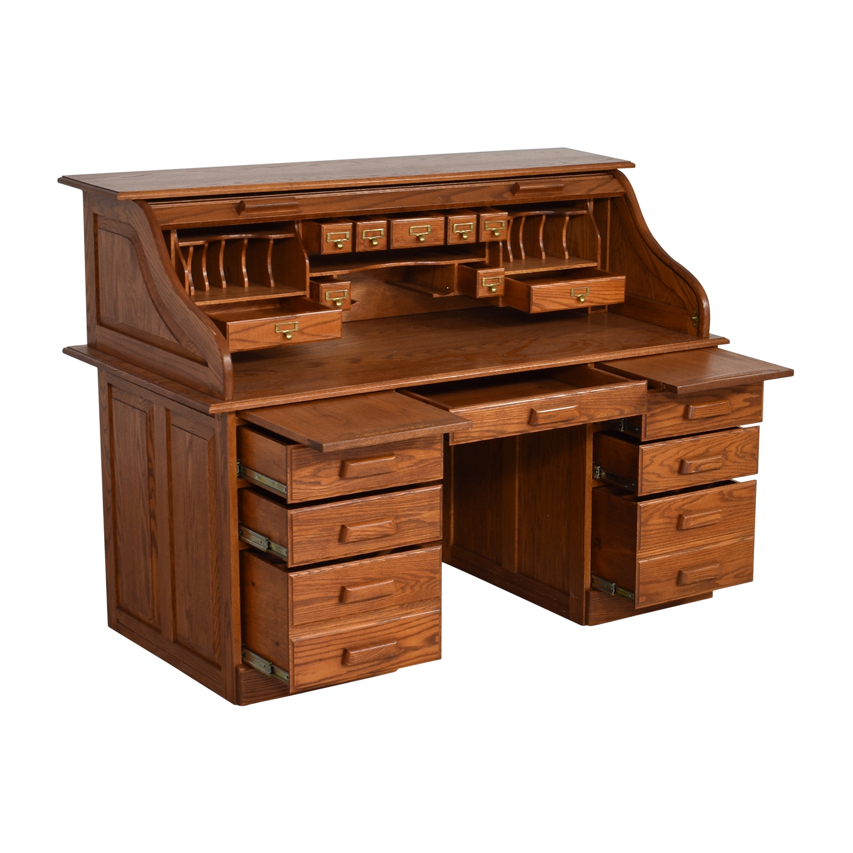 Custom Roll Top Double Pedestal Desk ct