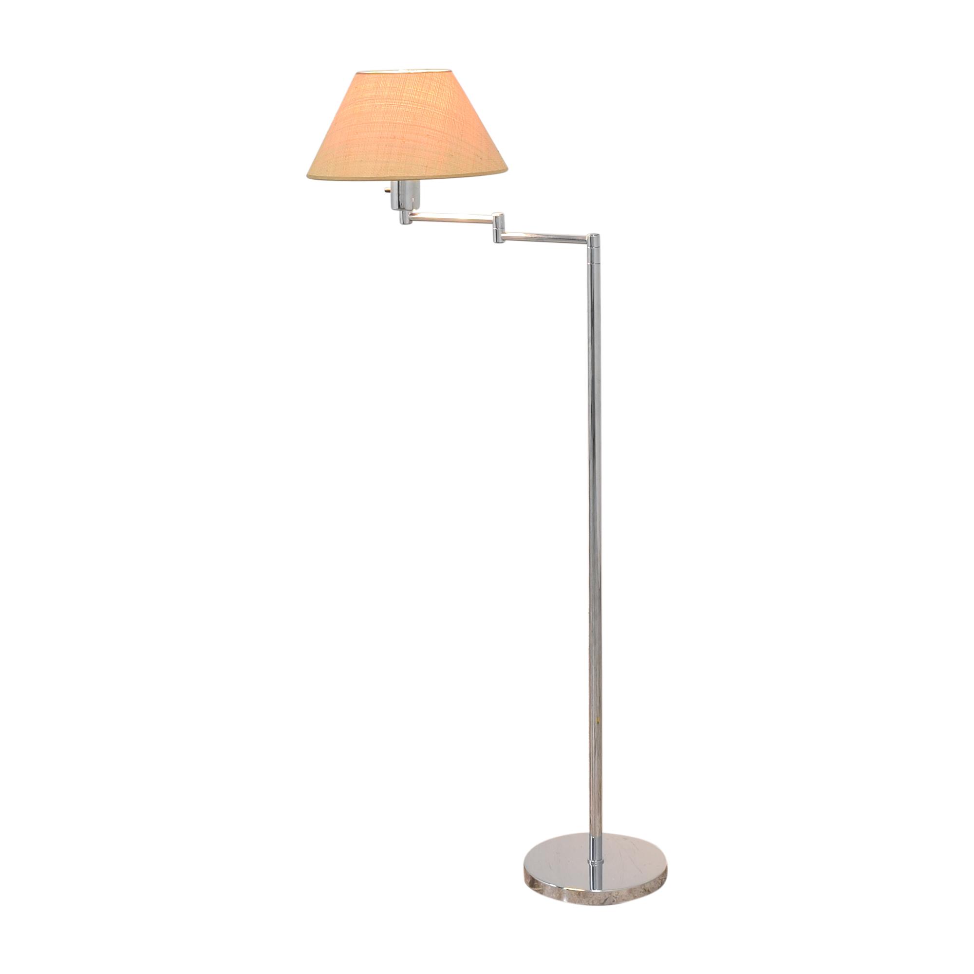 Scalamandre Scalamandre Hansen Double Swing Arm Floor Lamp silver and tan