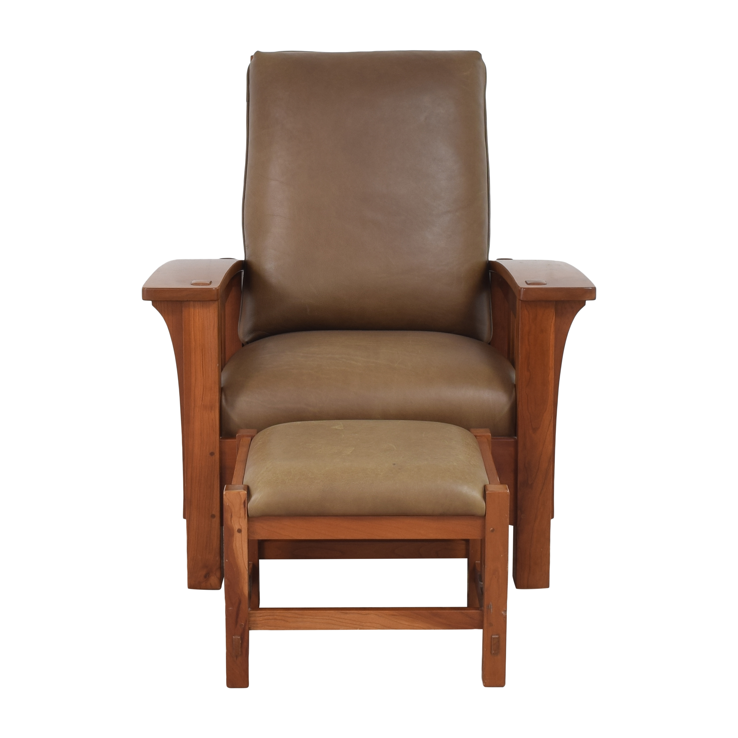 shop Stickley Mission Collection Bow Arm Morris Chair with Ottoman Stickley Furniture Recliners