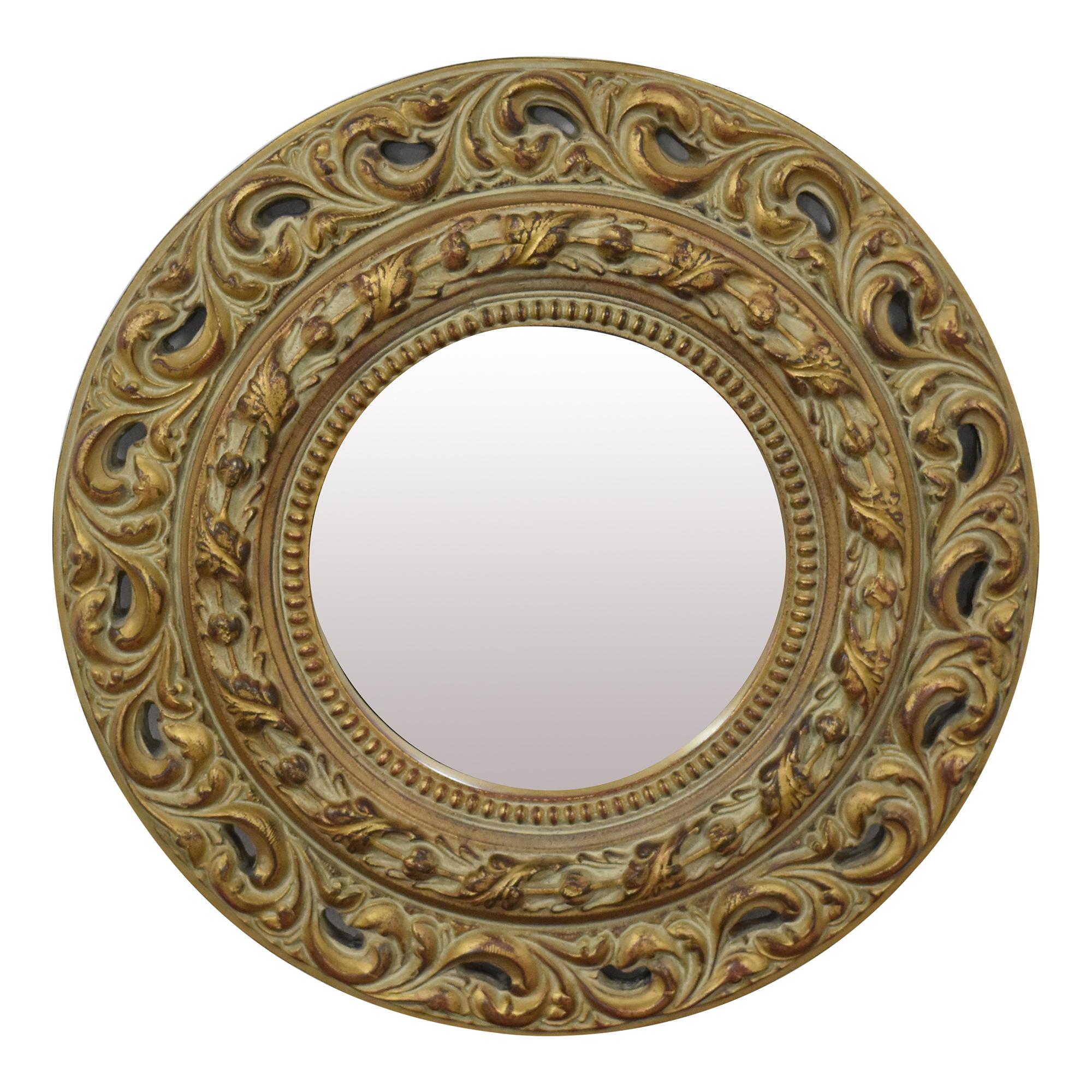 Ethan Allen Round Carved Mirror / Decor