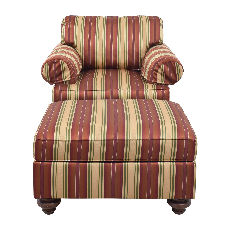 Henredon Furniture Henredon Striped Club Chair and Ottoman discount