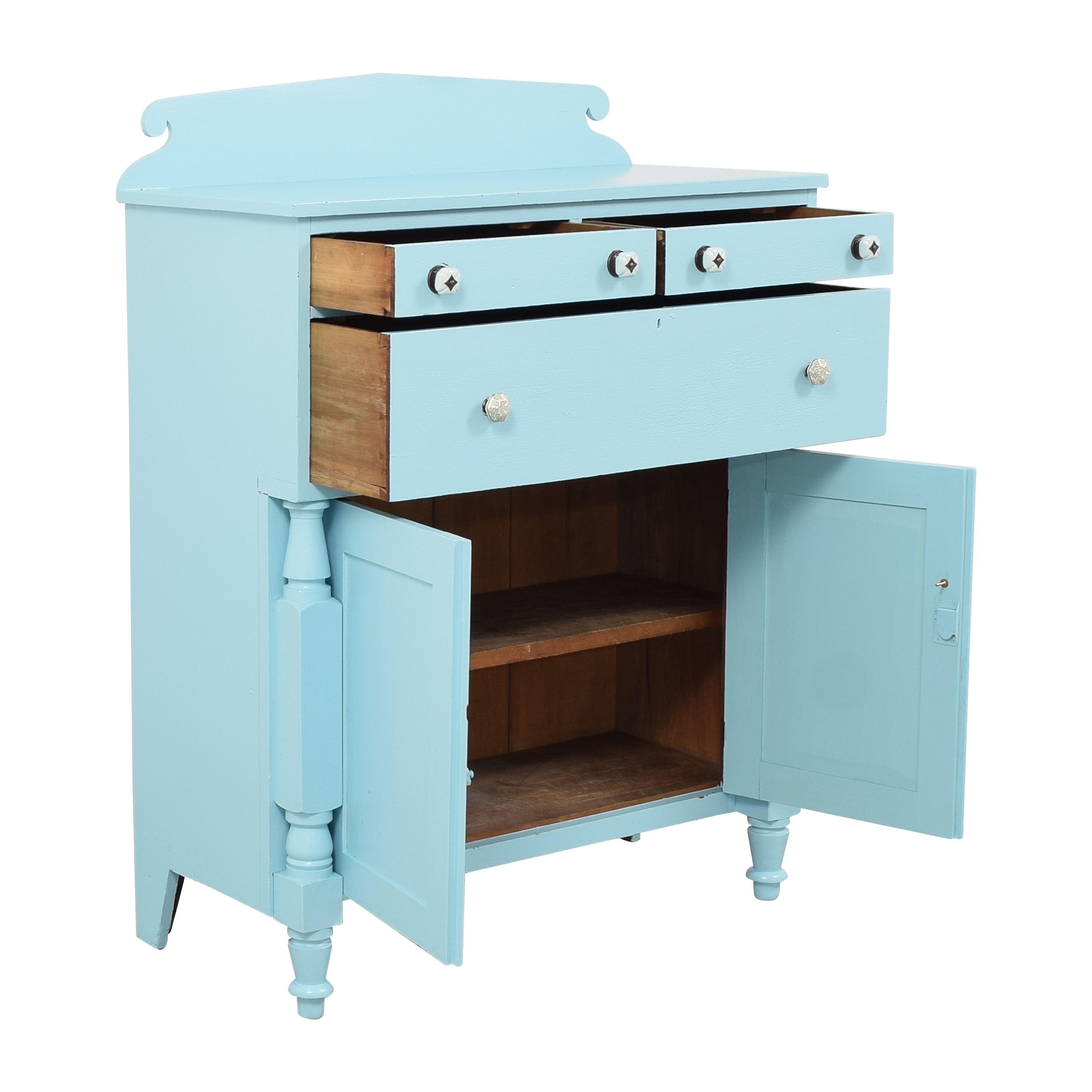 Painted Two Door Storage Cabinet used