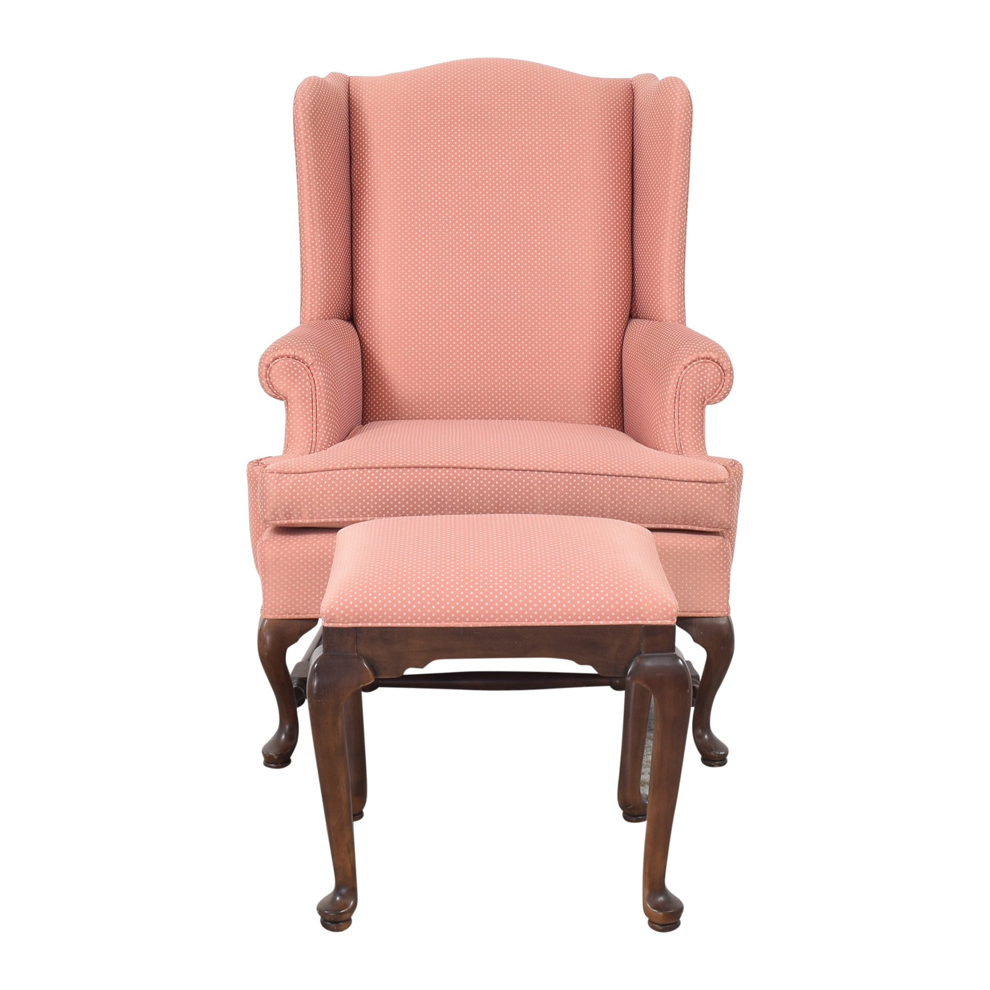 shop Ethan Allen Wing Chair with Ottoman Ethan Allen Accent Chairs