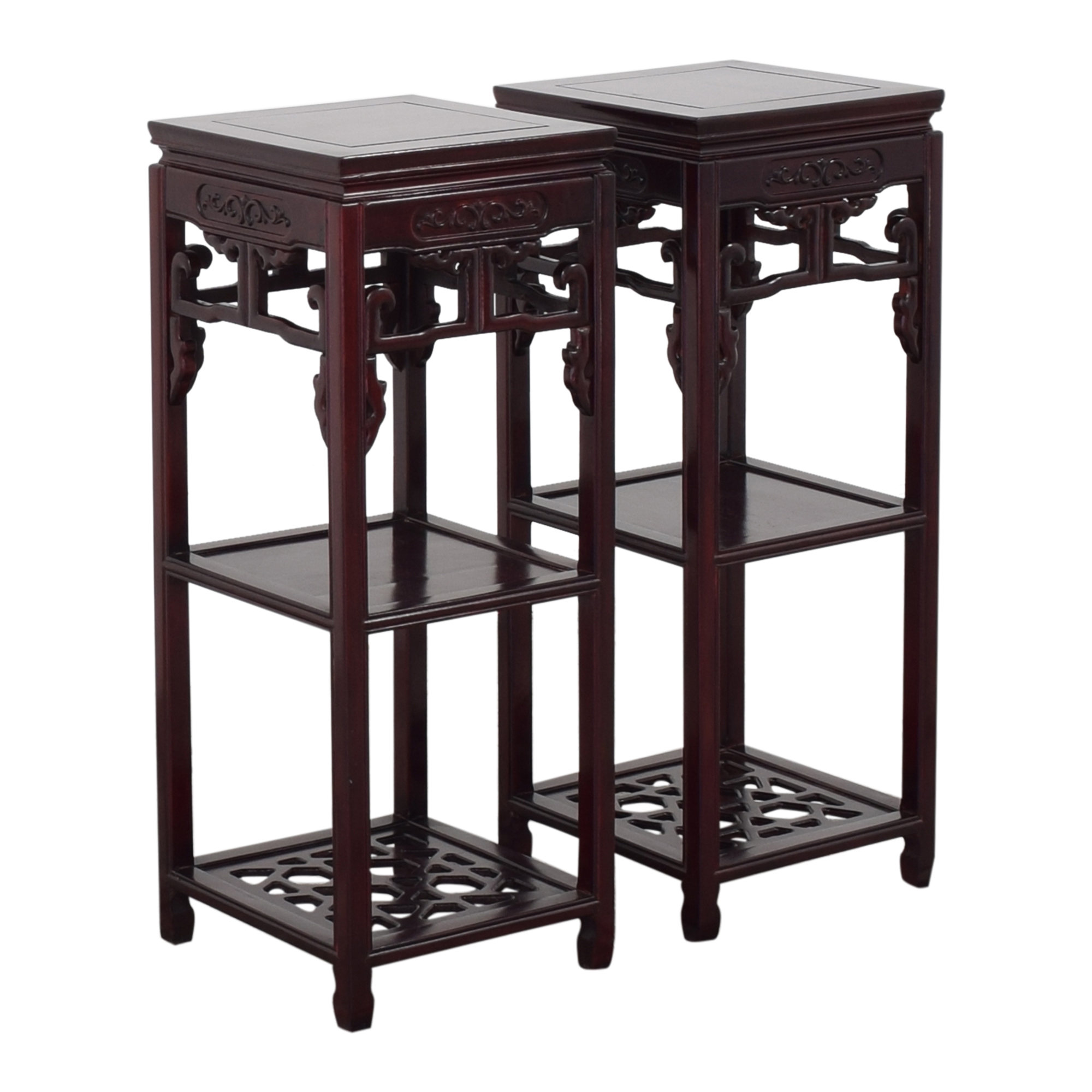 Carved Three Tier Plant Stands