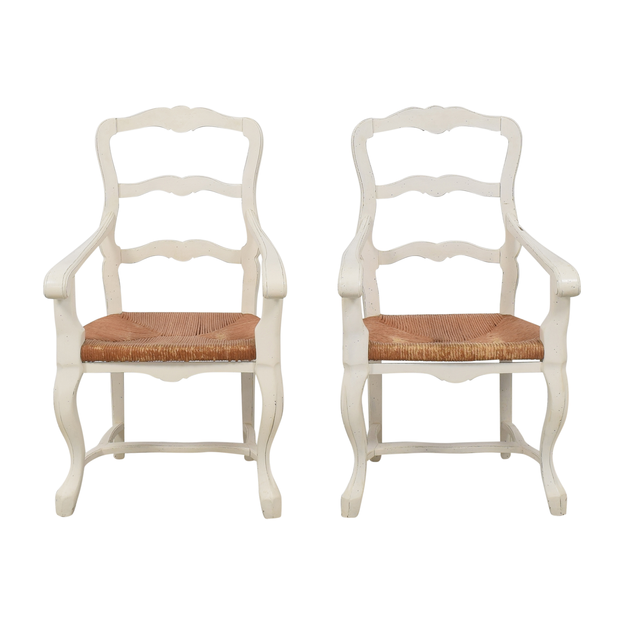 Ladderback Dining Arm Chairs brown & off white