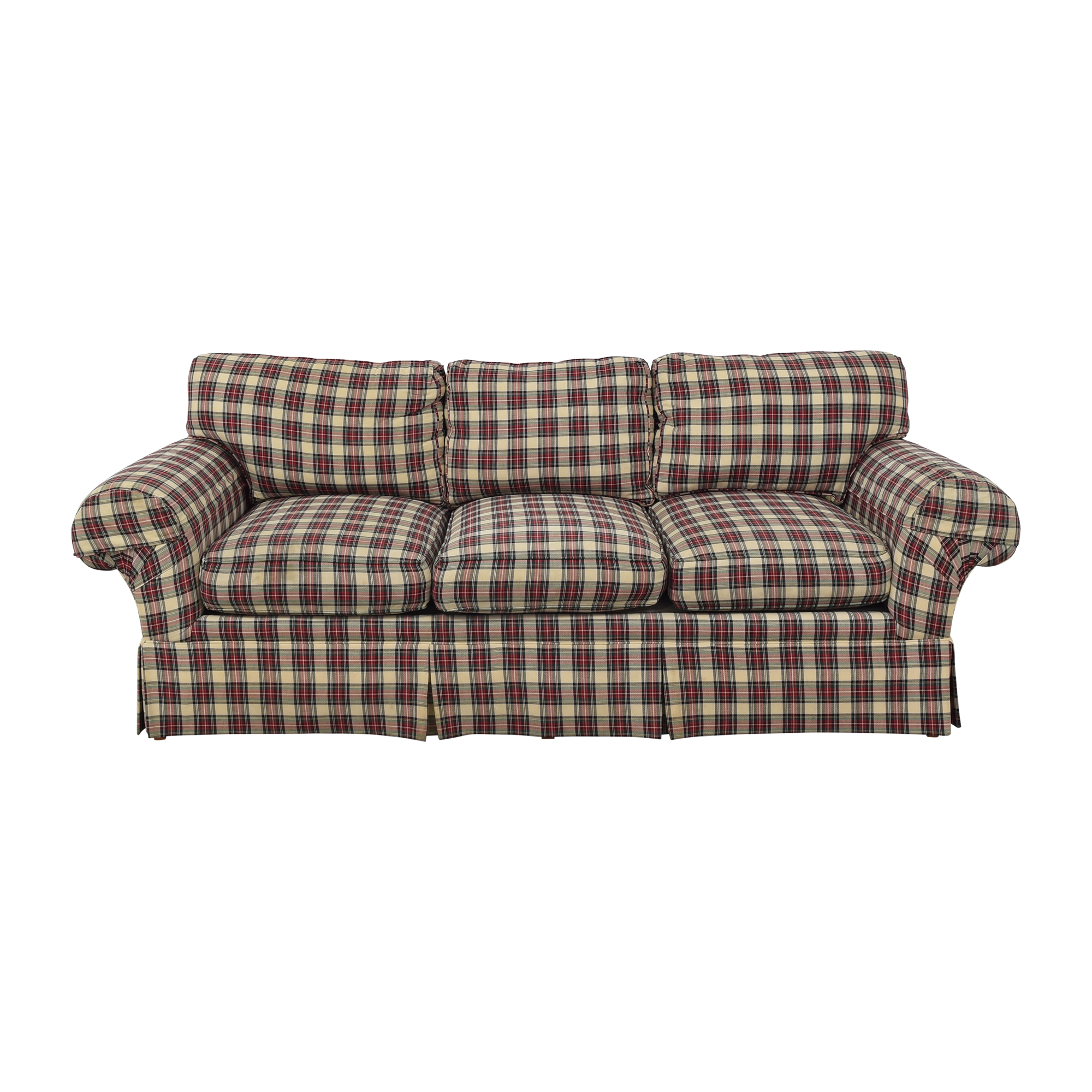 Henredon Plaid Three Cushion Sofa sale