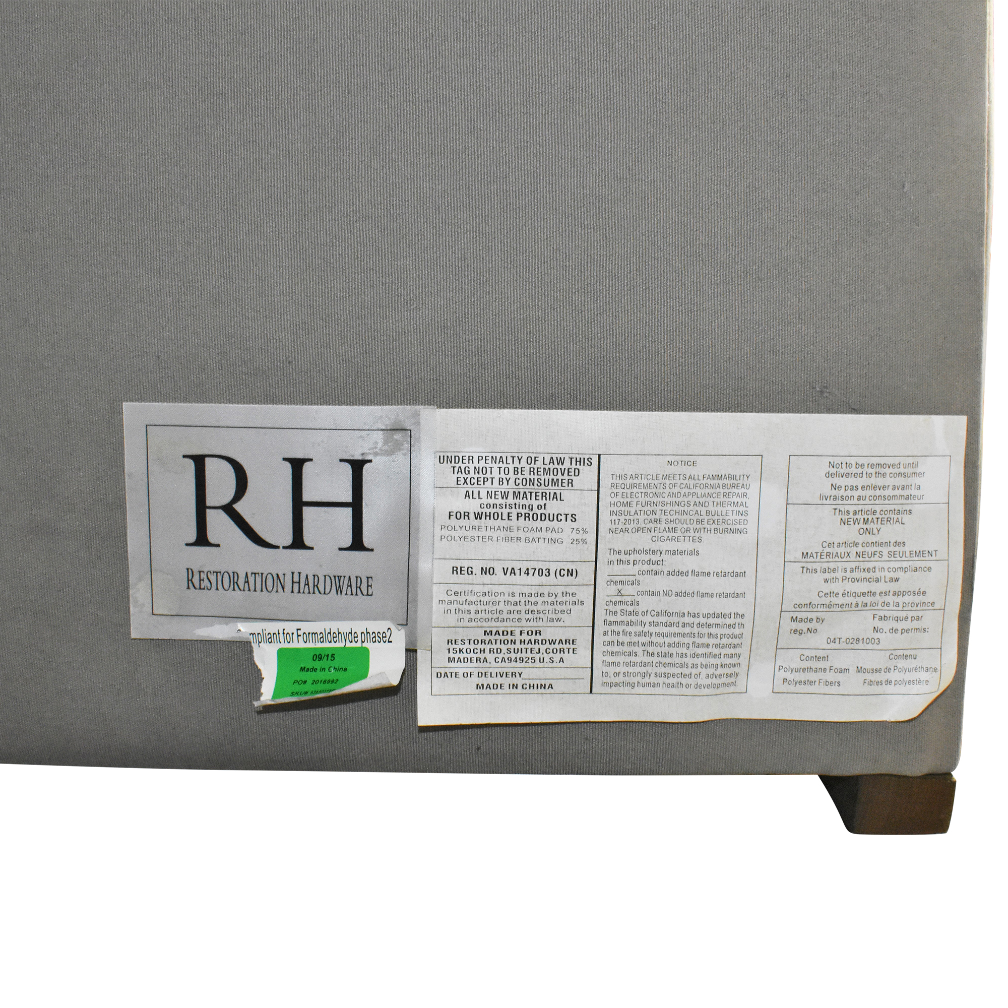 Restoration Hardware Restoration Hardware Adler Shelter Diamond Tufted California King Bed ct