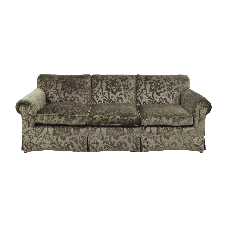 Skirted Roll Arm Three Cushion Sofa second hand