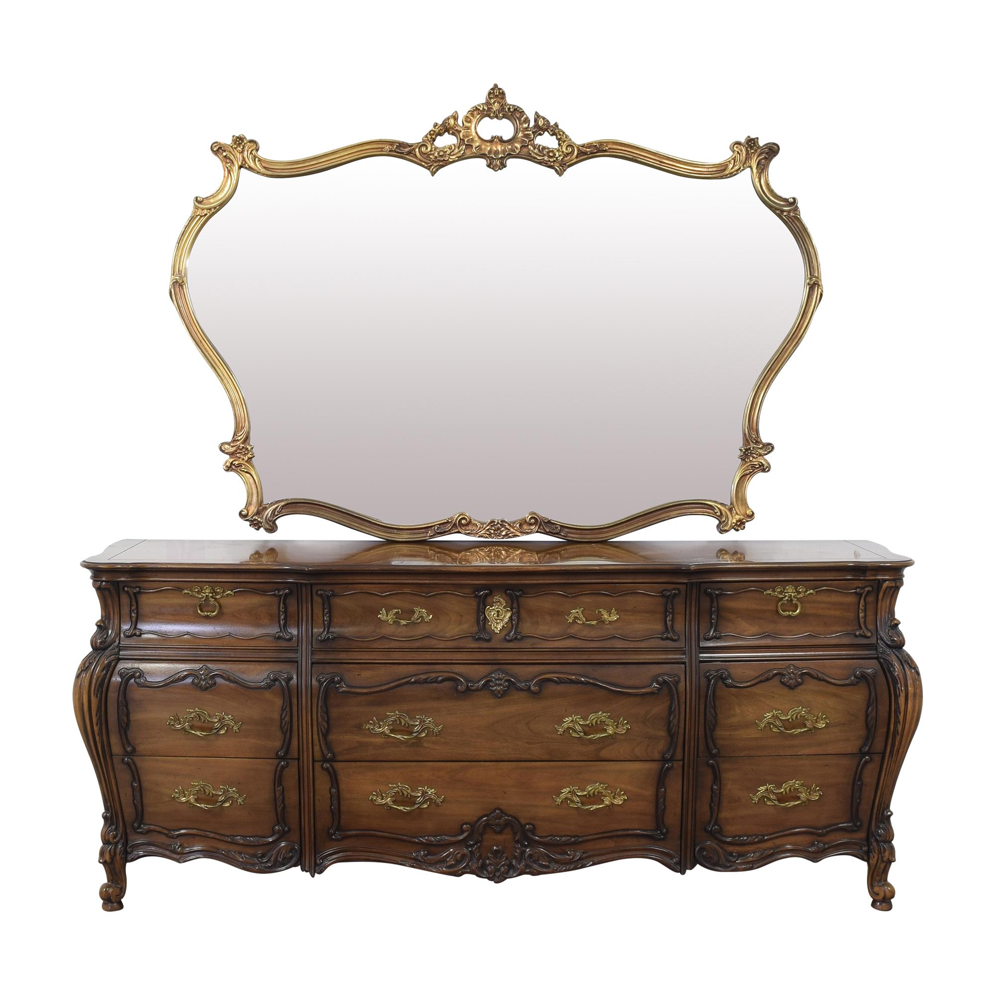 Carved Triple Dresser and Mirror nj