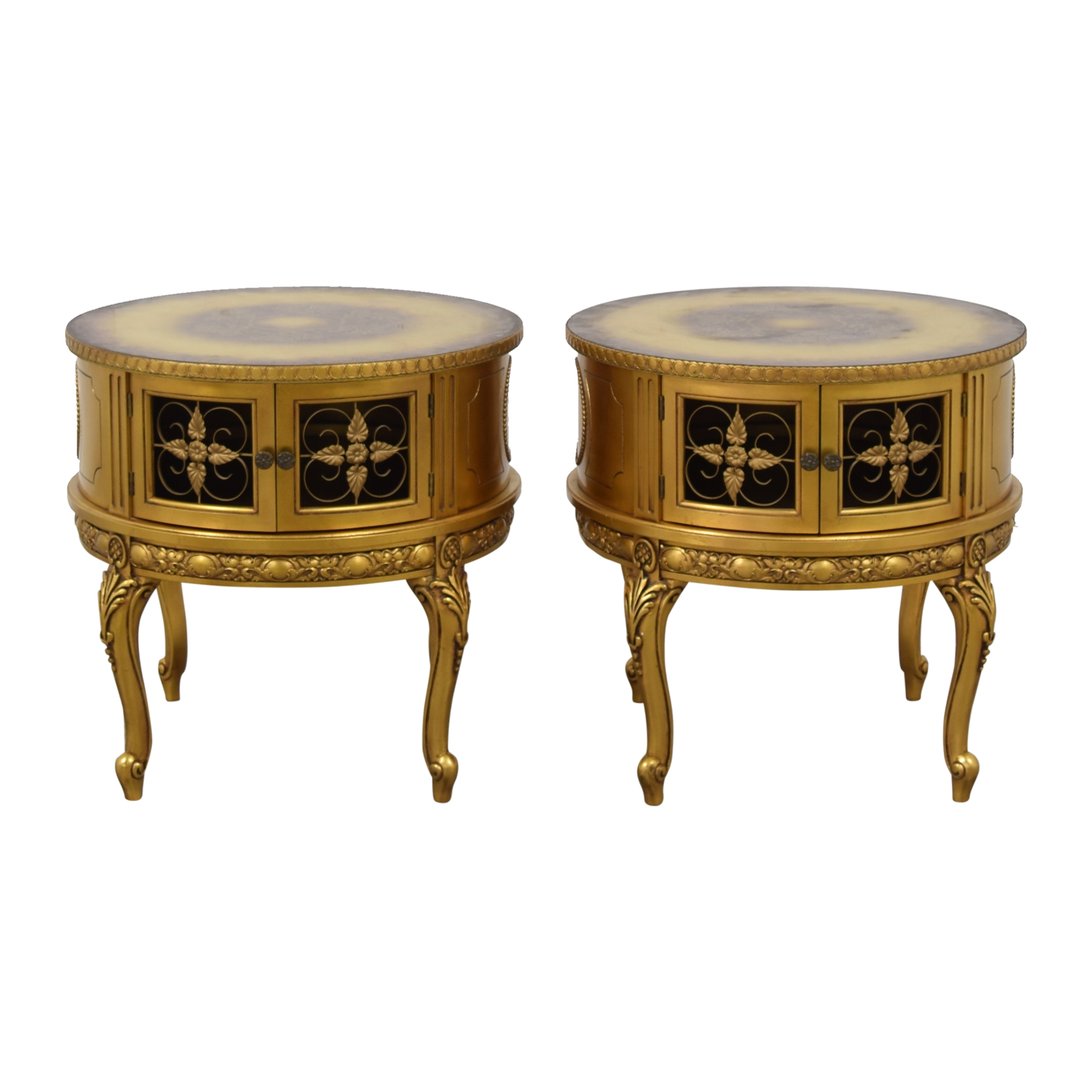 Round Storage End Tables brown & gold