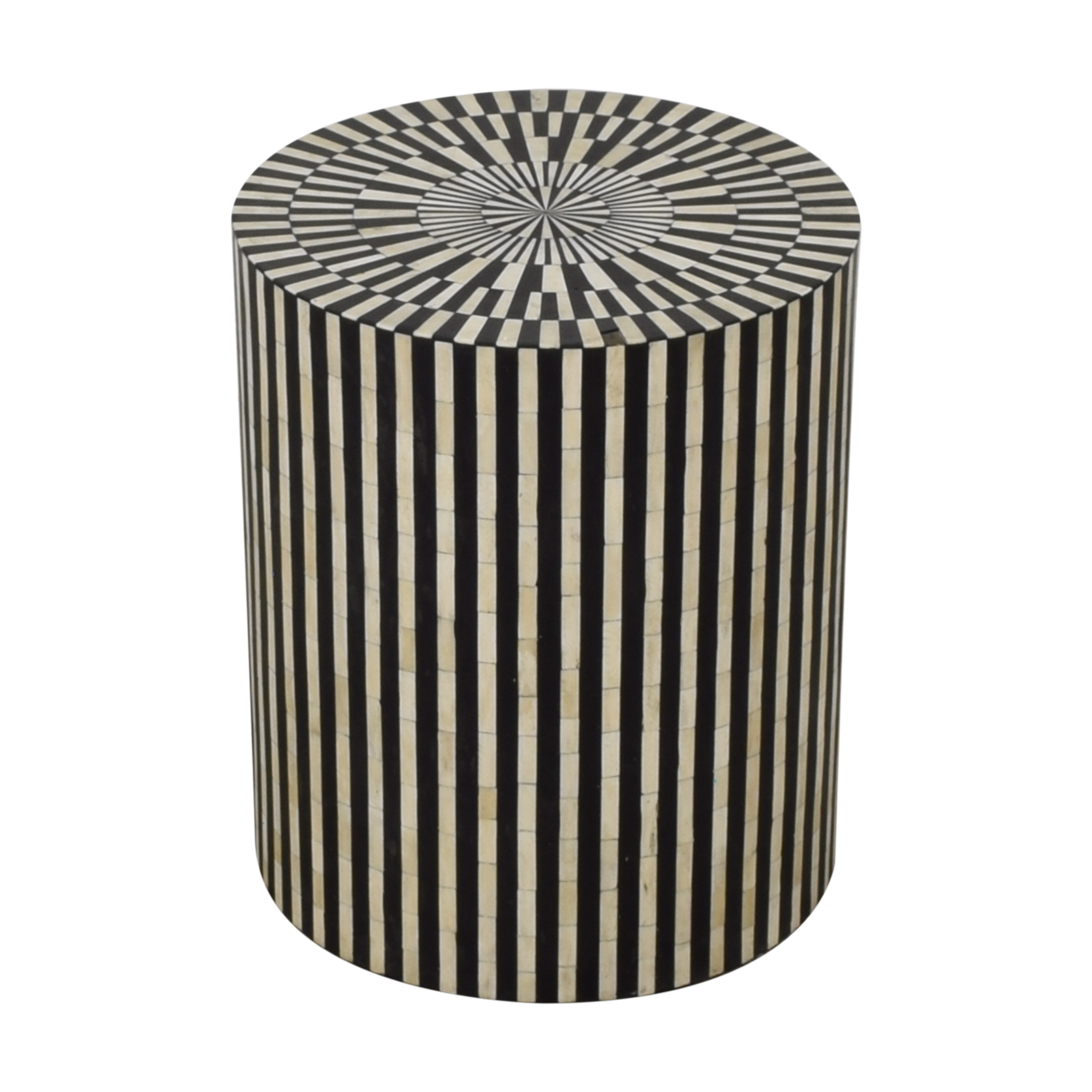 buy Anthropologie Rounded Inlay Drum Side Table Anthropologie End Tables