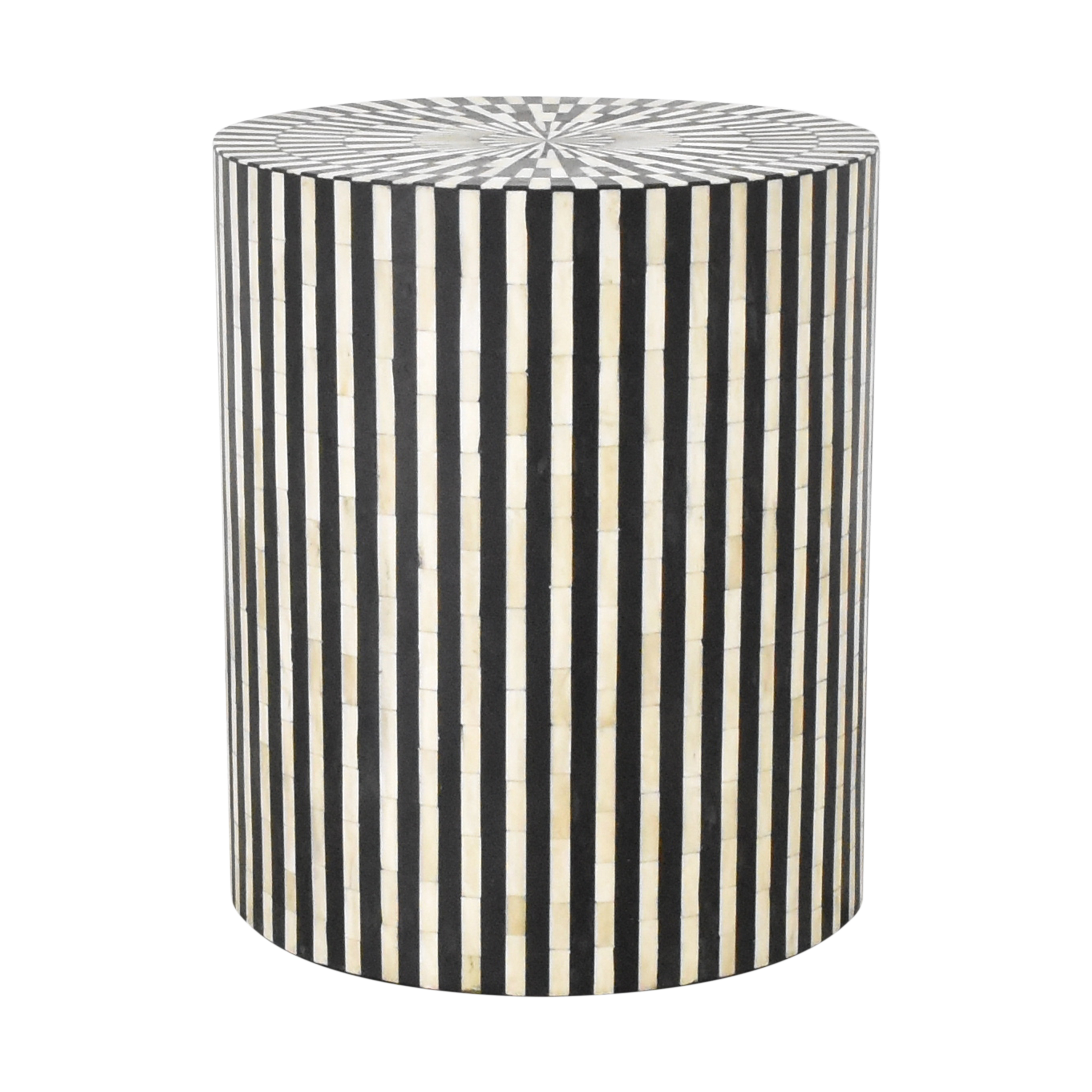 Anthropologie Rounded Inlay Drum Side Table sale
