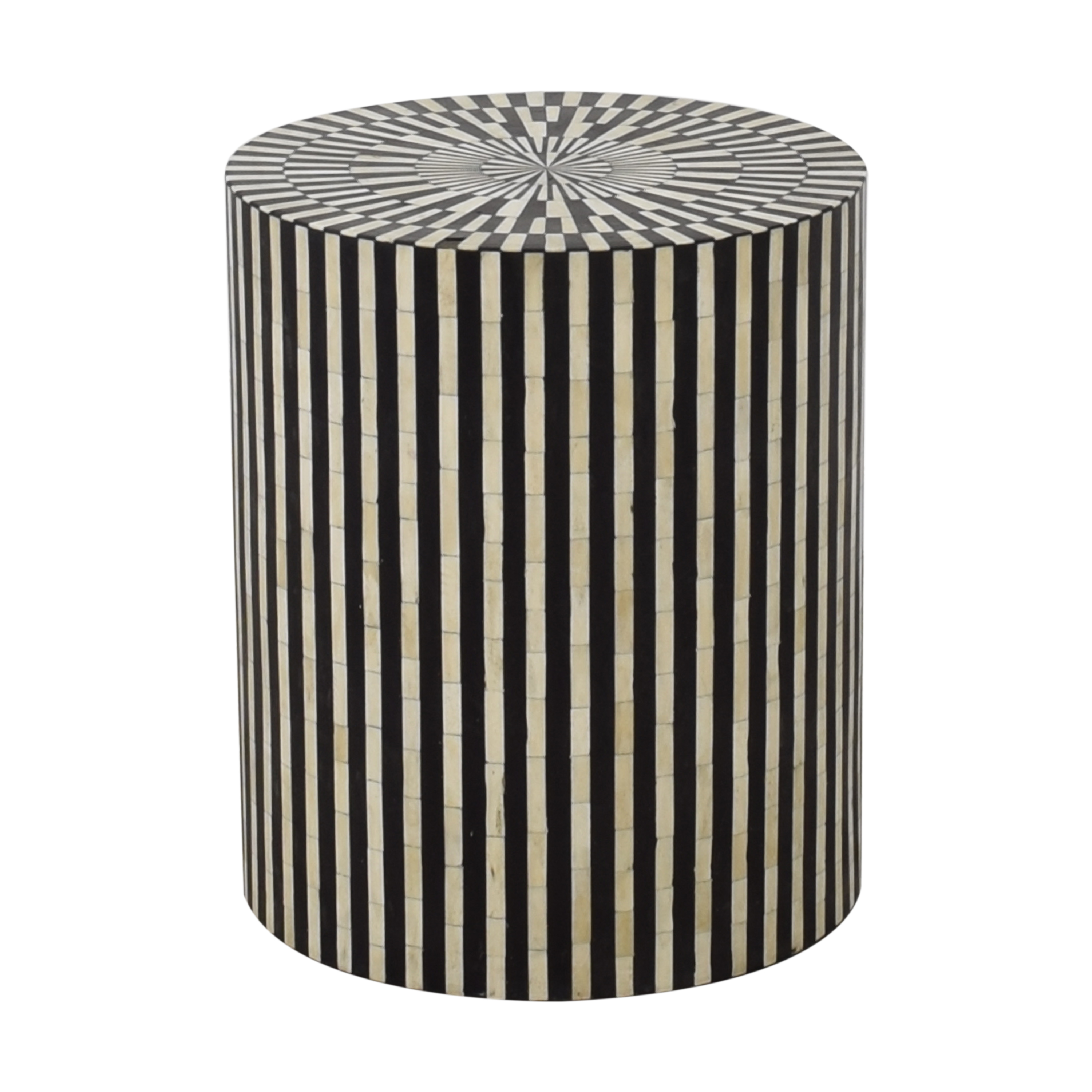 Anthropologie Anthropologie Rounded Inlay Drum Side Table second hand