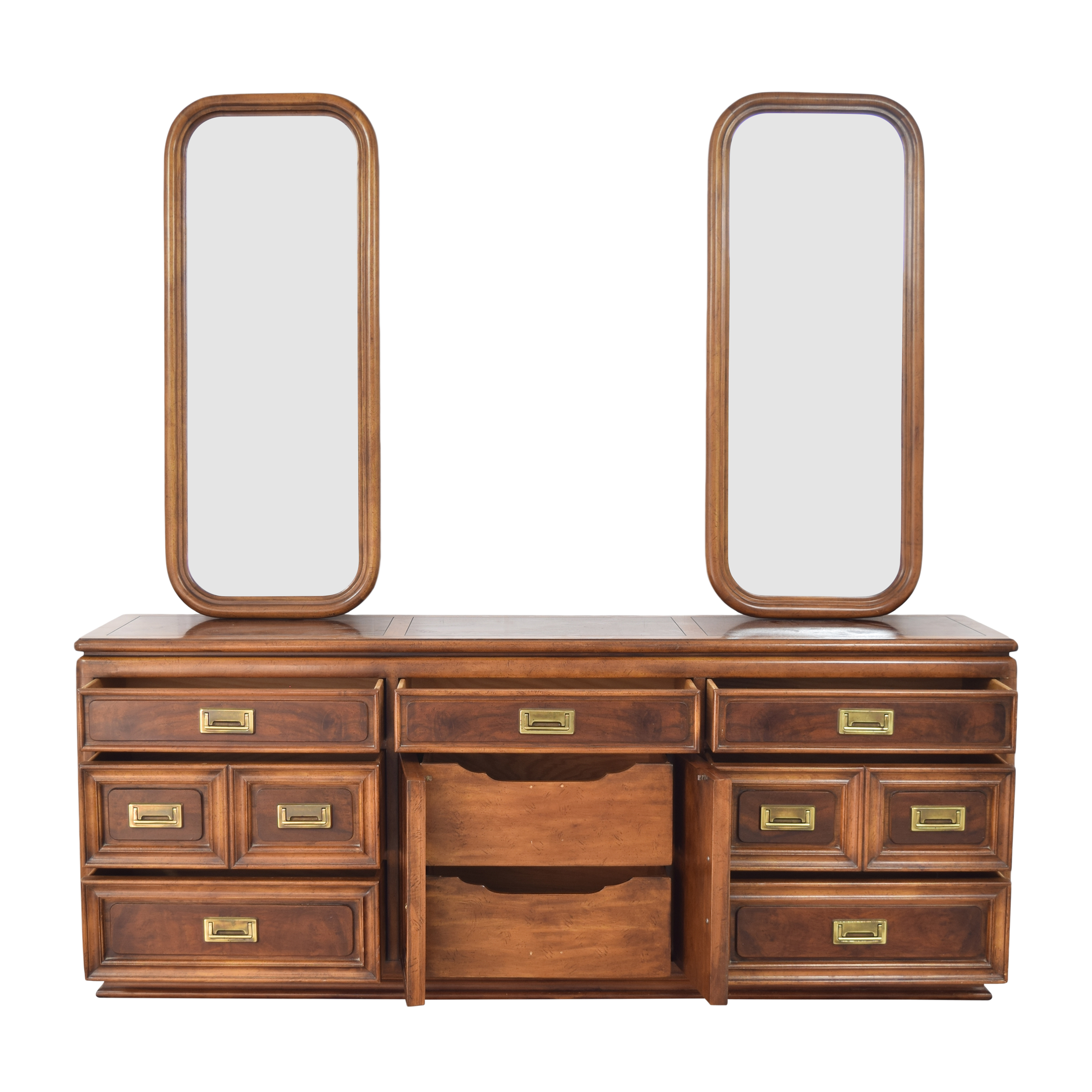 Campaign-Style Triple Dresser with Mirrors nyc