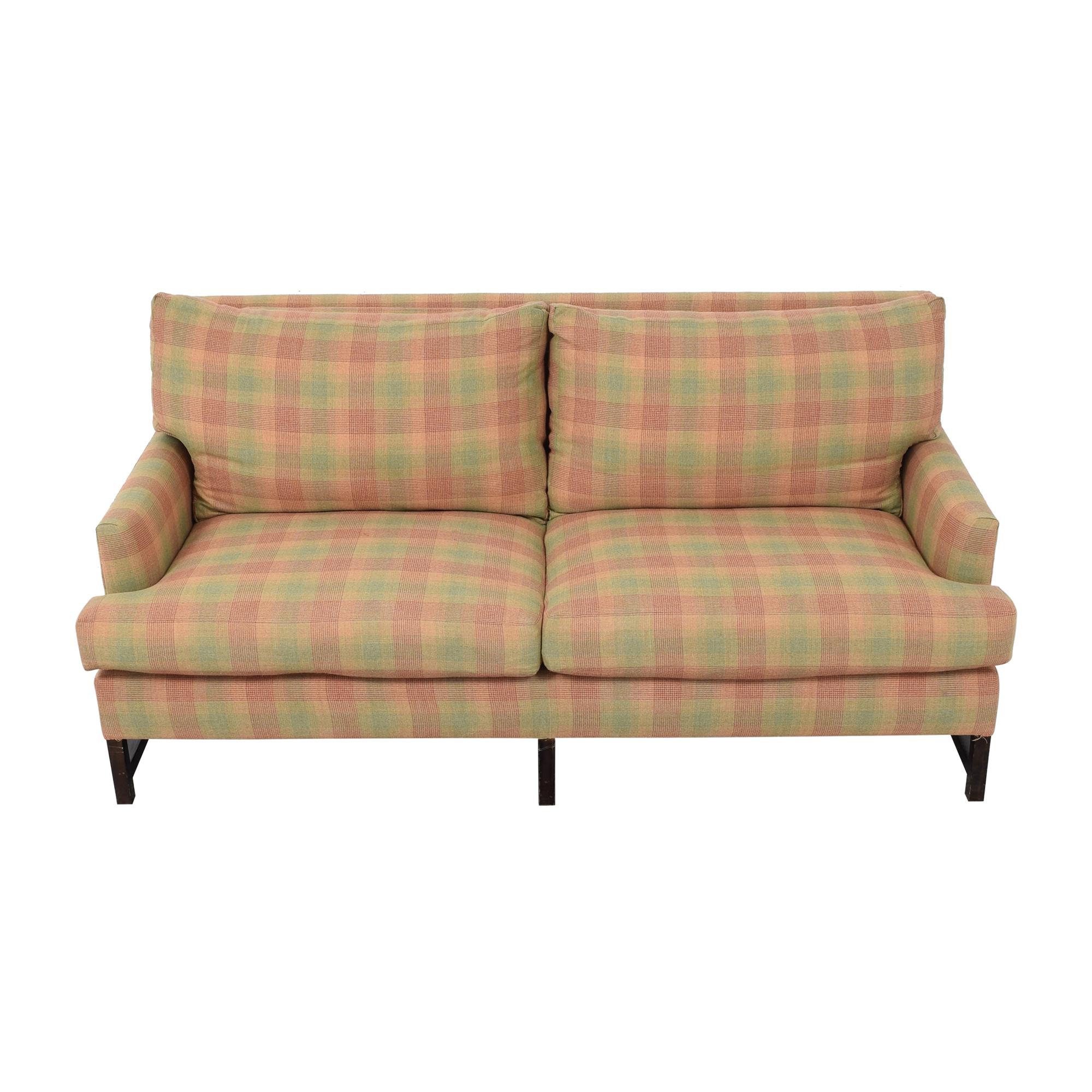 Vintage-Style Plaid Track Arm Sofa Sofas