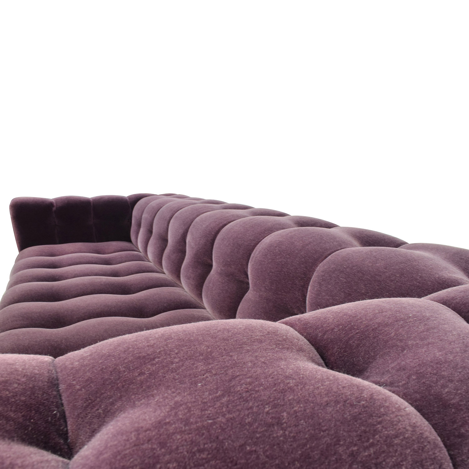 A Rudin Custom Port Velvet Tufted Sofa Dimensions