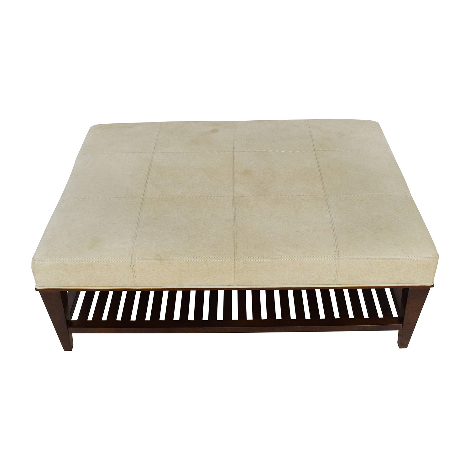 Baker Baker Walnut and Suede Ottoman second hand