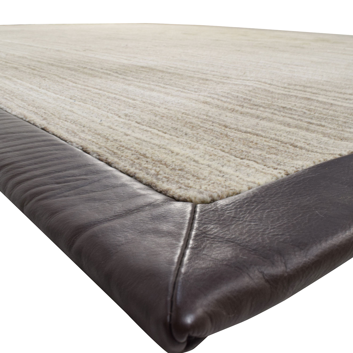 Stark Carpets Stark Carpets Beige with Brown Leather Trim Rug second hand