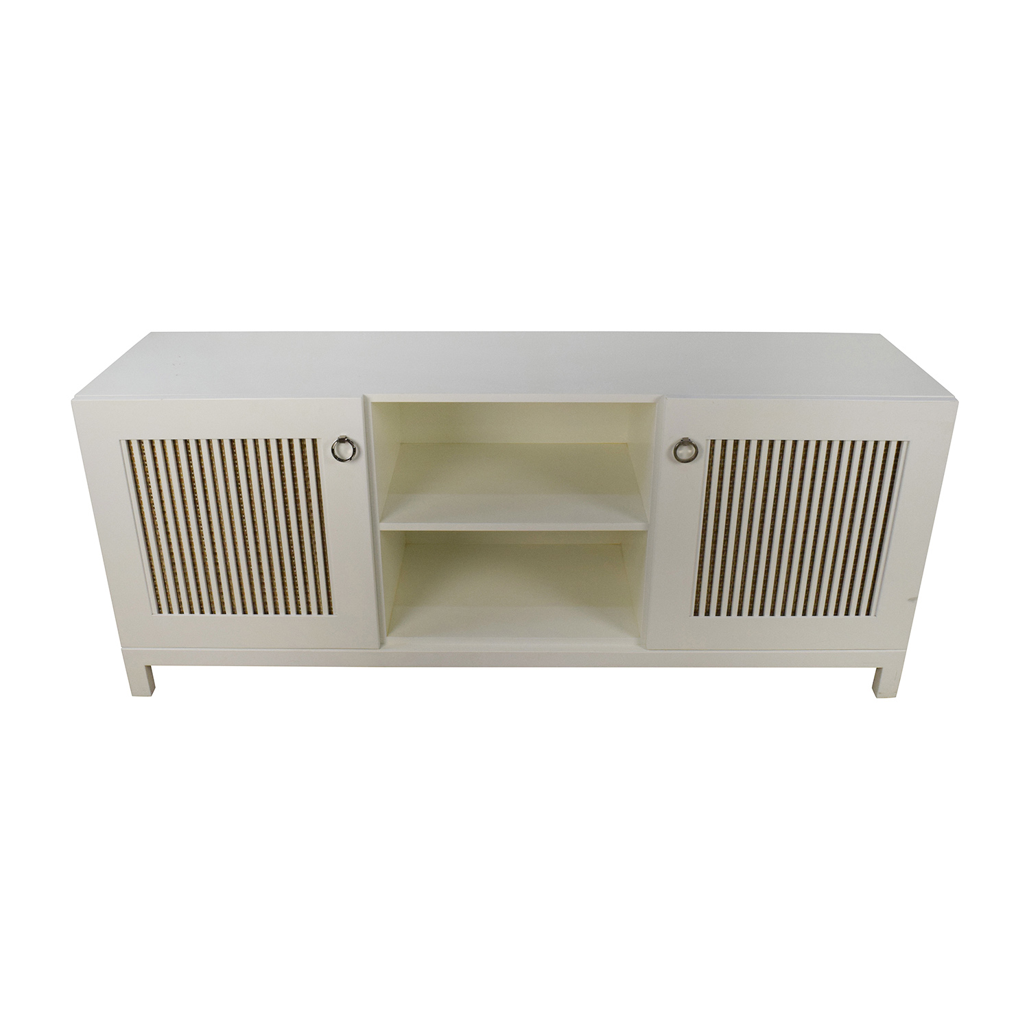 Custom White Wood Custom Credenza with Two Doors nyc