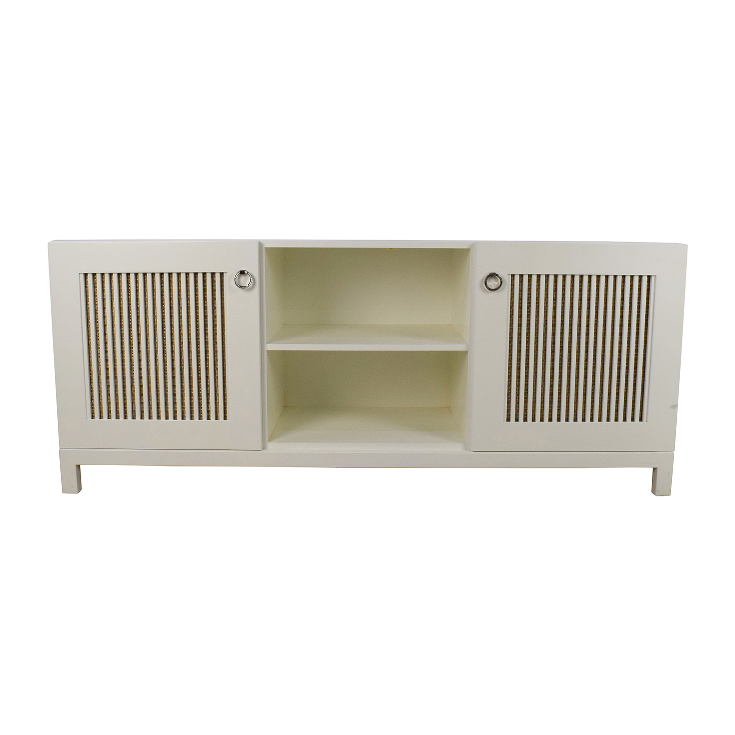 White Wood Custom Credenza with Two Doors / Cabinets & Sideboards