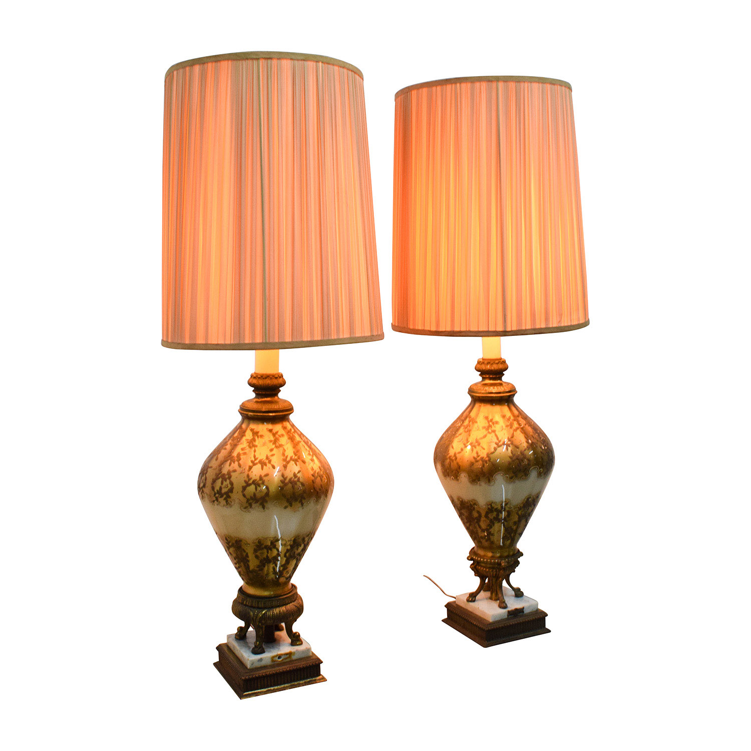 74% OFF - 1960's Gold and Cream Classic Lamp with Marble Base / Decor