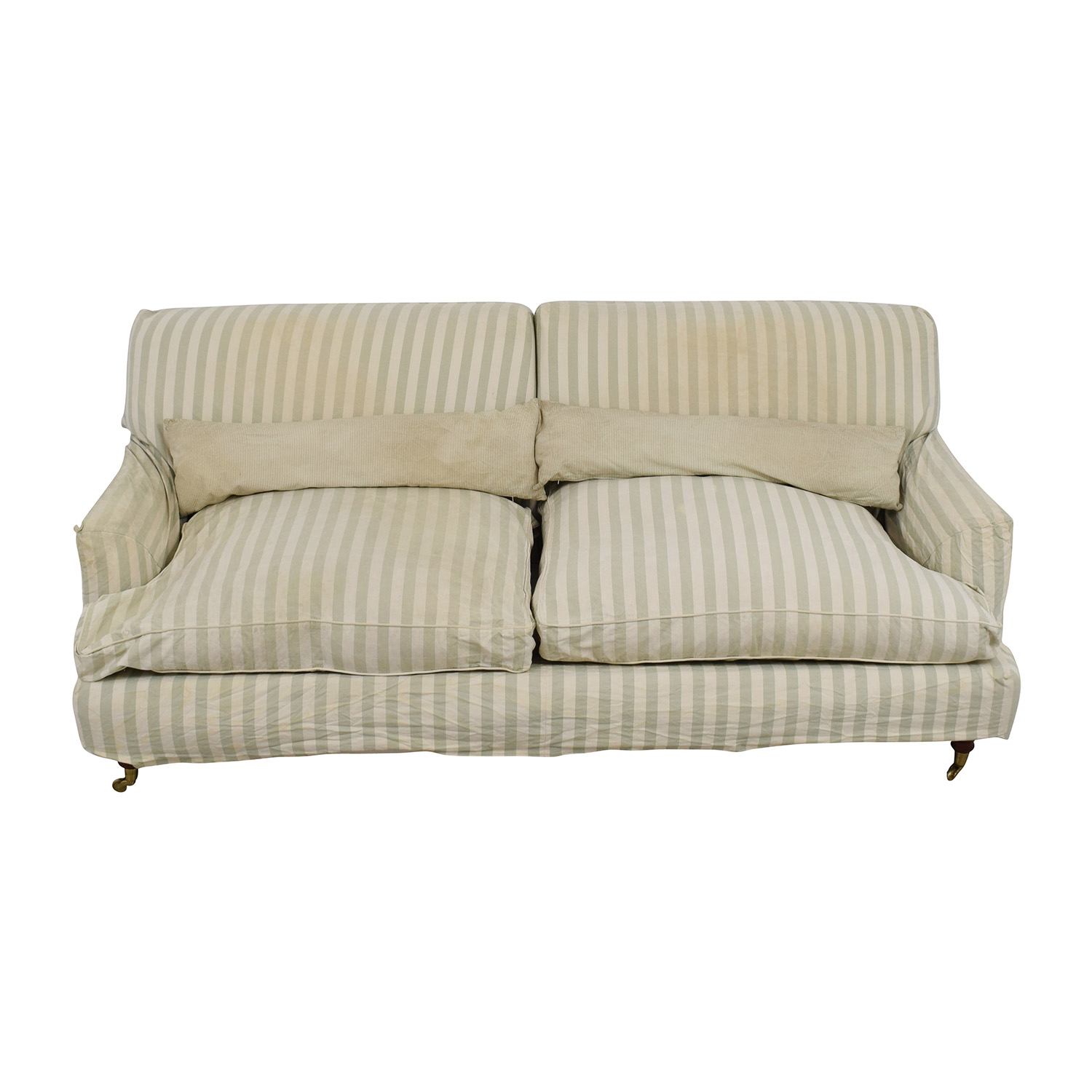 Green and White Striped English Roll-arm Sofa / Classic Sofas