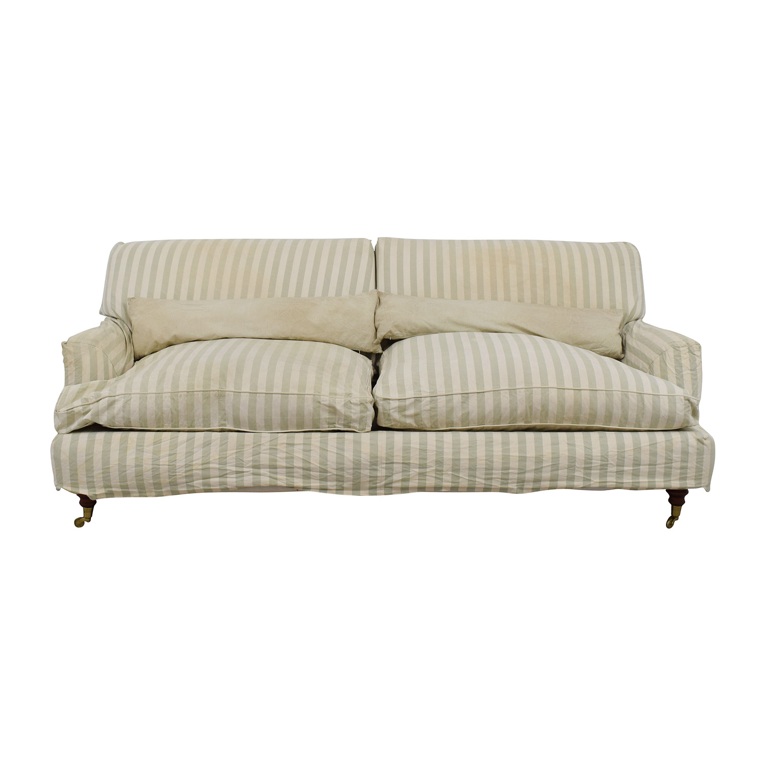Shop Green And White Striped English Roll Arm Sofa Classic Sofas ...